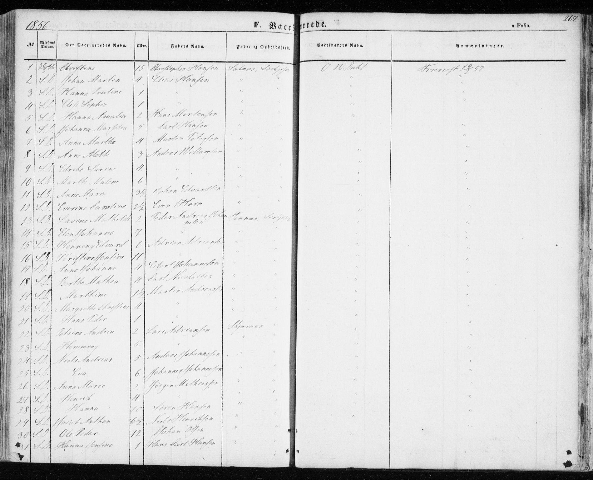 SATØ, Balsfjord sokneprestembete, Parish register (official) no. 3, 1856-1870, p. 267