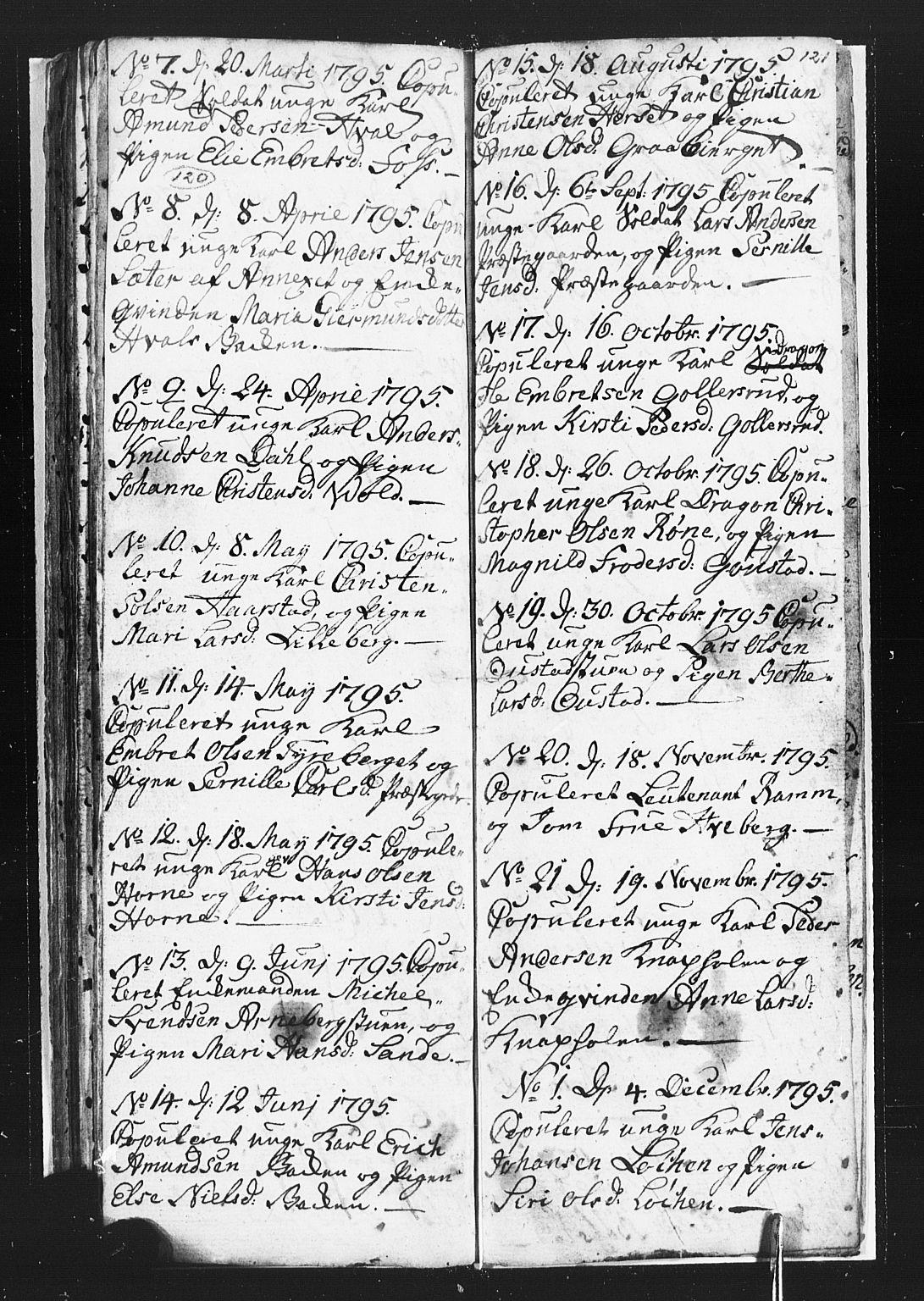 SAH, Romedal prestekontor, L/L0002: Parish register (copy) no. 2, 1795-1800, p. 120-121