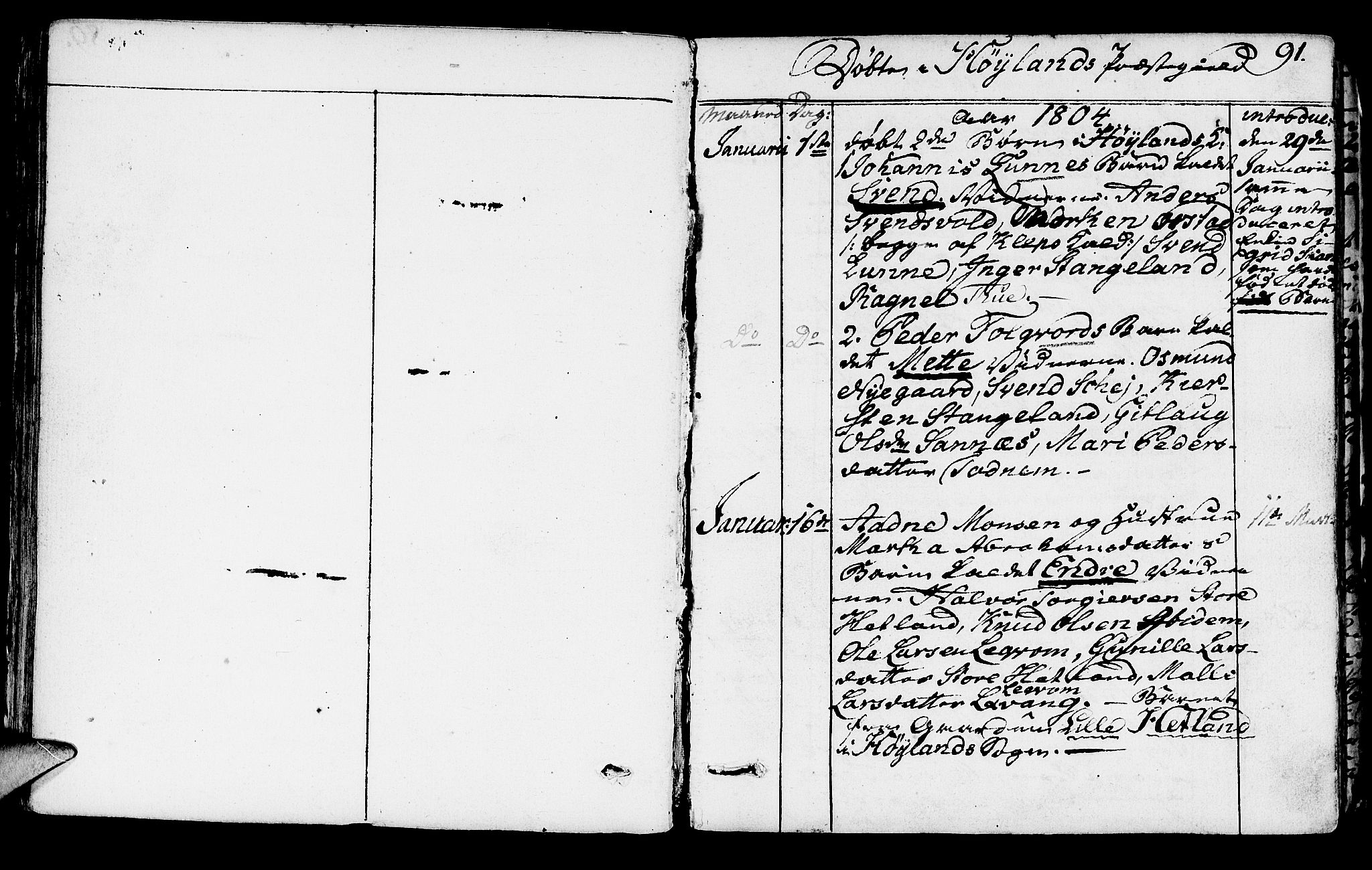 SAST, Høyland sokneprestkontor, 30BA/L0005: Parish register (official) no. A 5, 1804-1815, p. 91