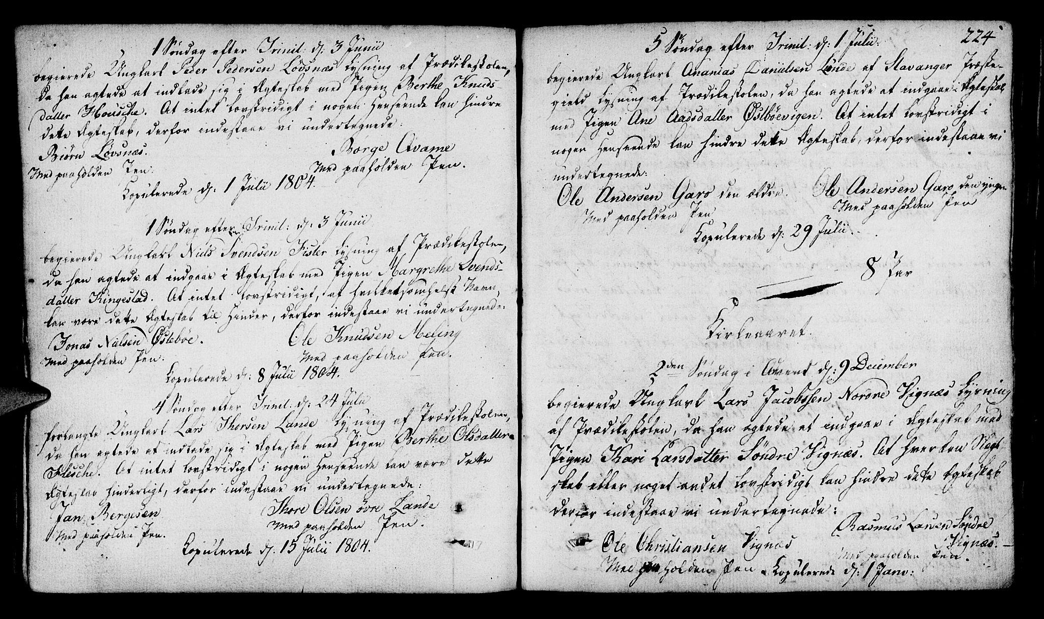 SAST, Finnøy sokneprestkontor, H/Ha/Haa/L0005: Parish register (official) no. A 5, 1773-1816, p. 224
