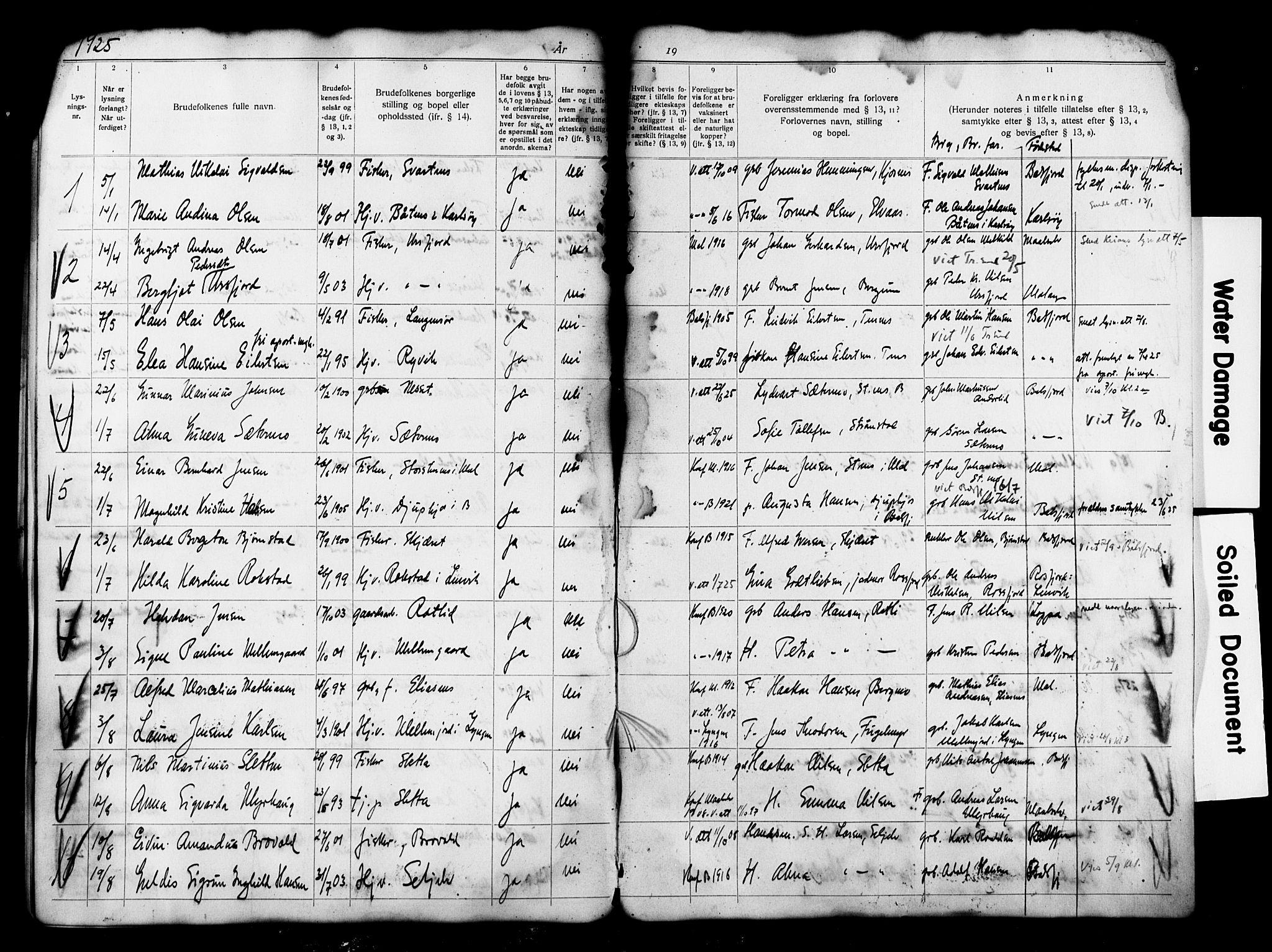 SATØ, Balsfjord sokneprestembete, Banns register no. 33, 1920-1927