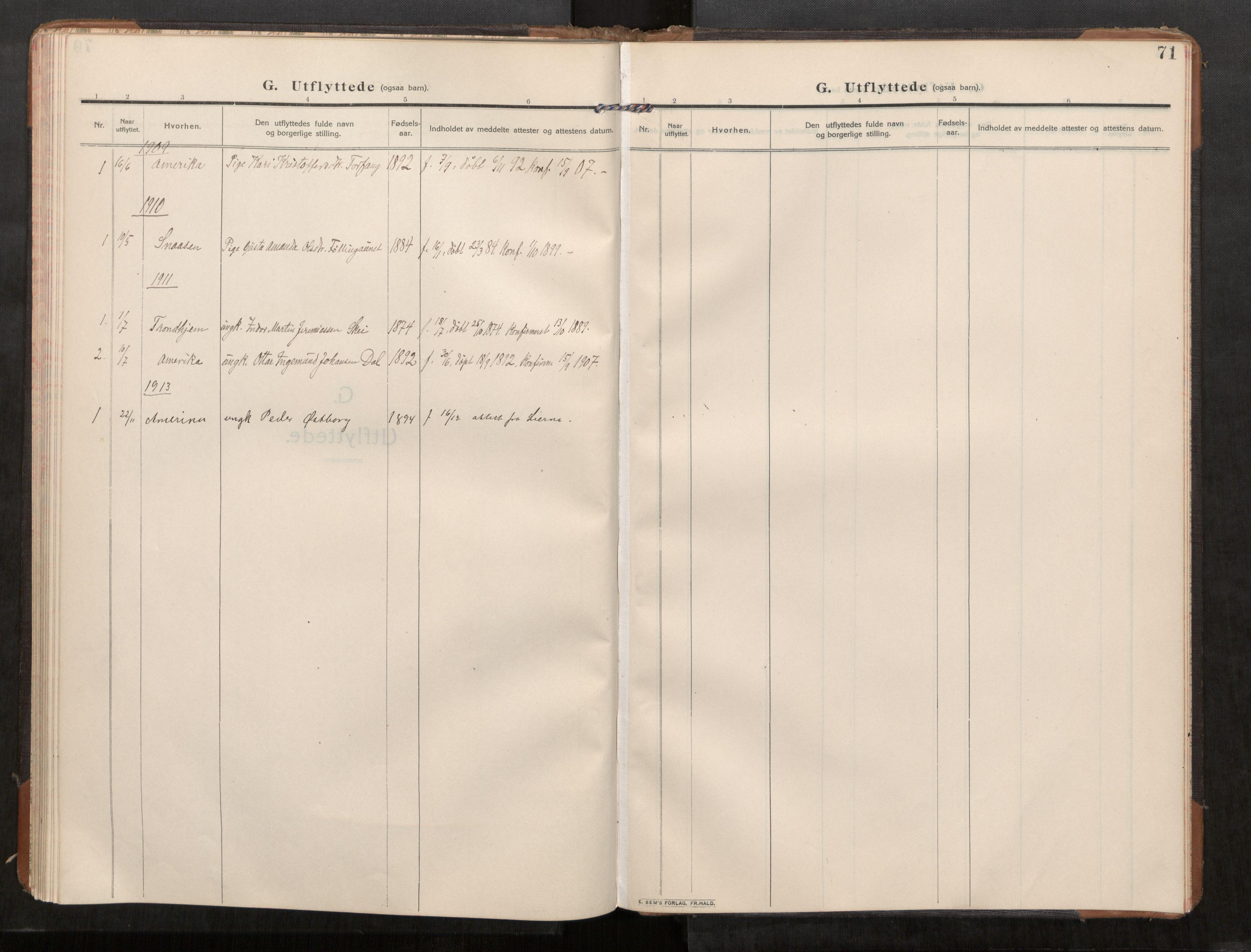 SAT, Stod sokneprestkontor, I/I1/I1a/L0003: Parish register (official) no. 3, 1909-1934, p. 71