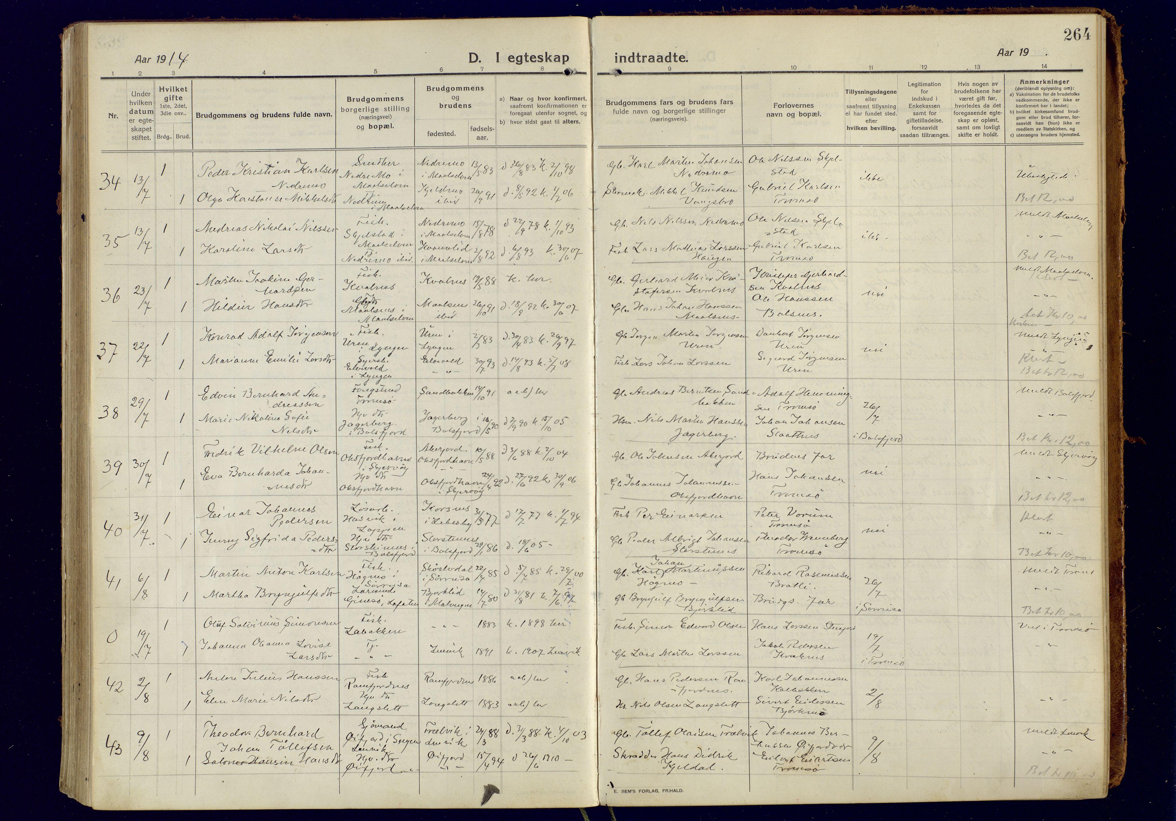 SATØ, Tromsøysund sokneprestkontor, G/Ga: Parish register (official) no. 8, 1914-1922, p. 264