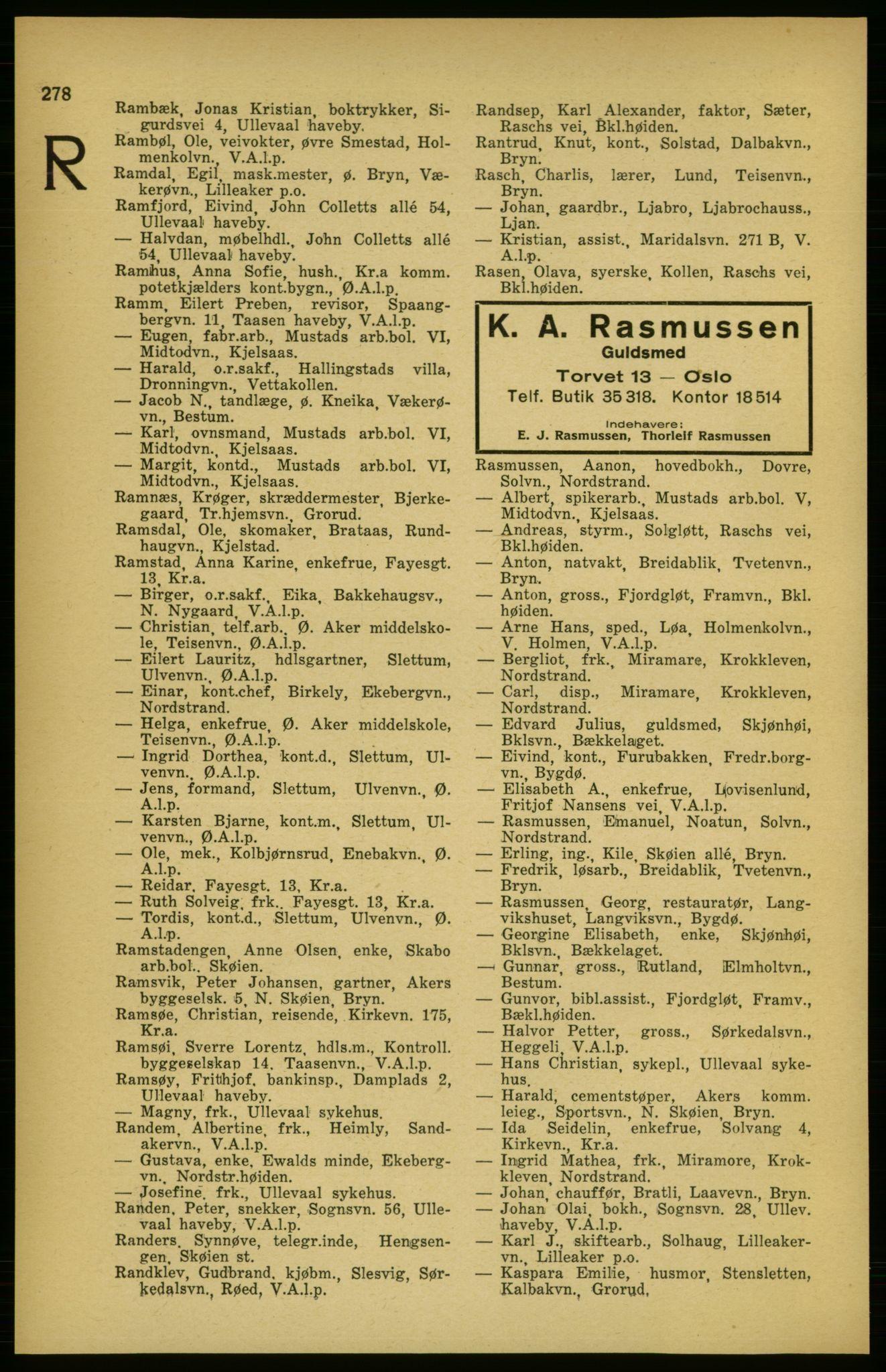 RA, Aker adressebok/adressekalender (publikasjon)*, 1924-1925, p. 278