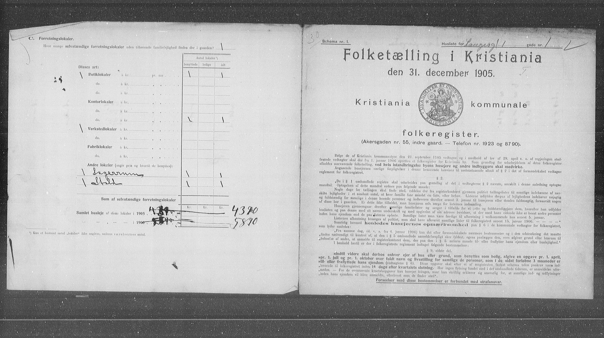 OBA, Municipal Census 1905 for Kristiania, 1905, p. 30041