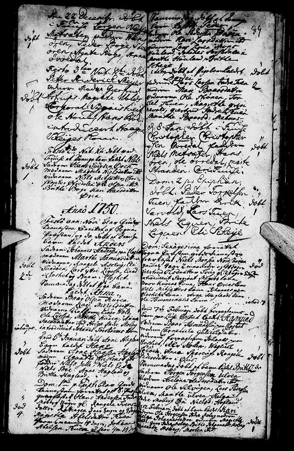 SAB, Os sokneprestembete*, Parish register (official) no. A 2, 1723-1758, p. 89