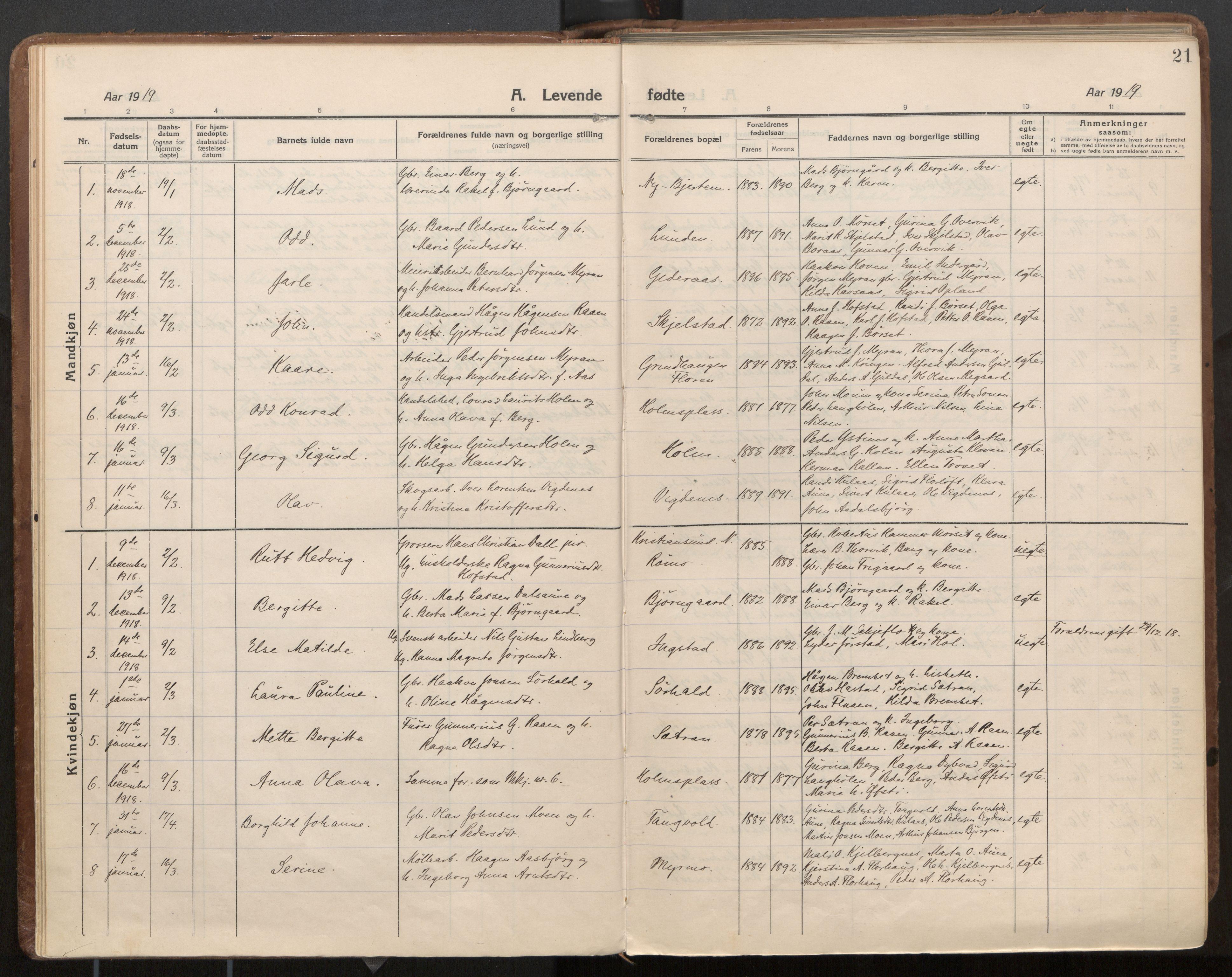 SAT, Ministerialprotokoller, klokkerbøker og fødselsregistre - Nord-Trøndelag, 703/L0037: Parish register (official) no. 703A10, 1915-1932, p. 21
