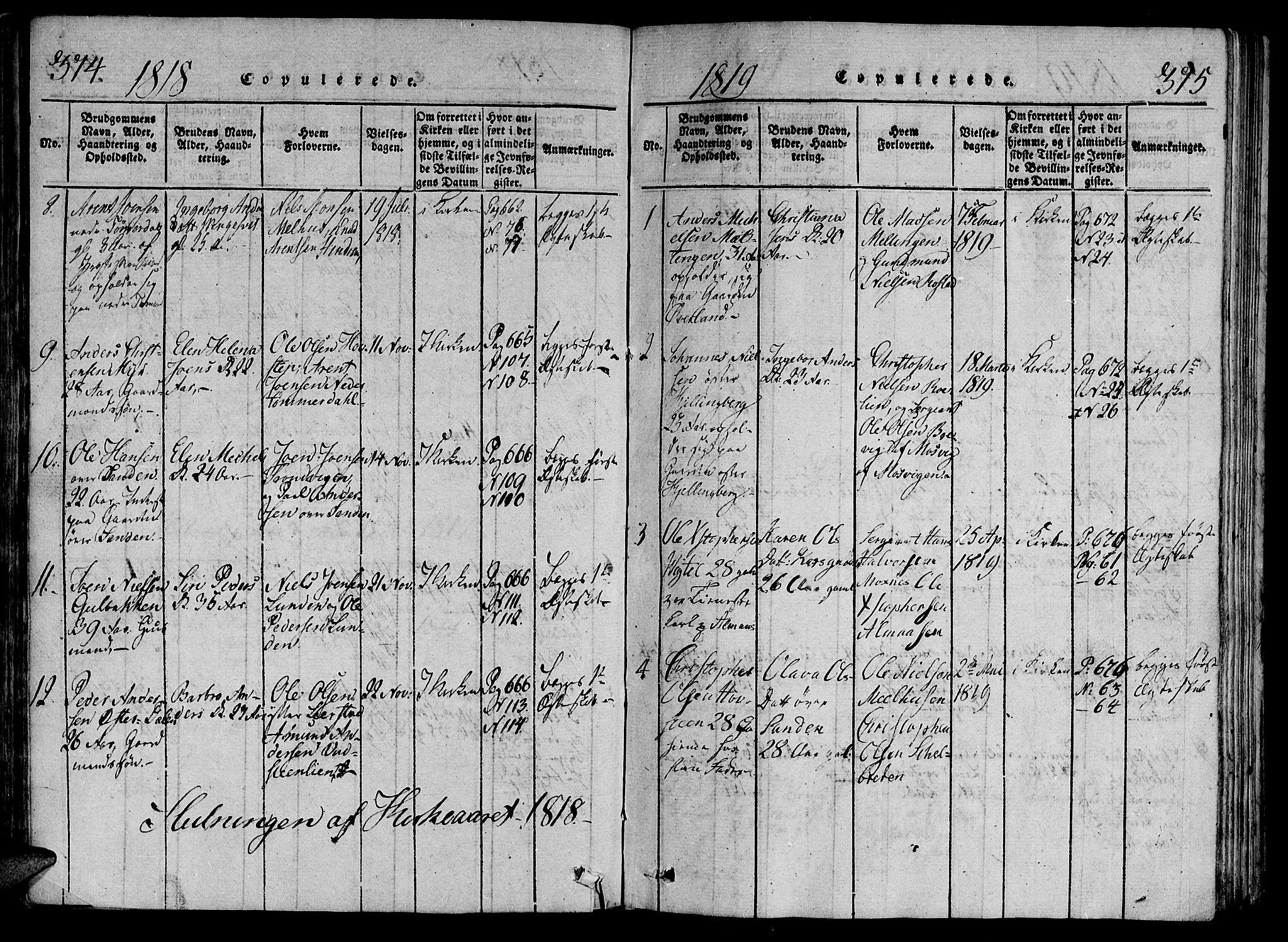 SAT, Ministerialprotokoller, klokkerbøker og fødselsregistre - Nord-Trøndelag, 701/L0005: Parish register (official) no. 701A05 /1, 1816-1825, p. 374-375