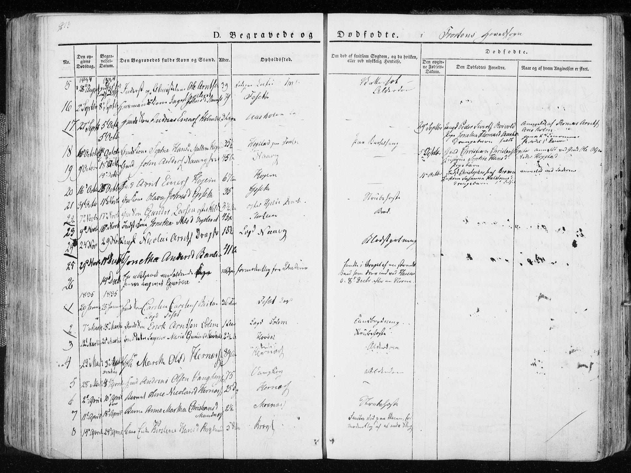 SAT, Ministerialprotokoller, klokkerbøker og fødselsregistre - Nord-Trøndelag, 713/L0114: Parish register (official) no. 713A05, 1827-1839, p. 213