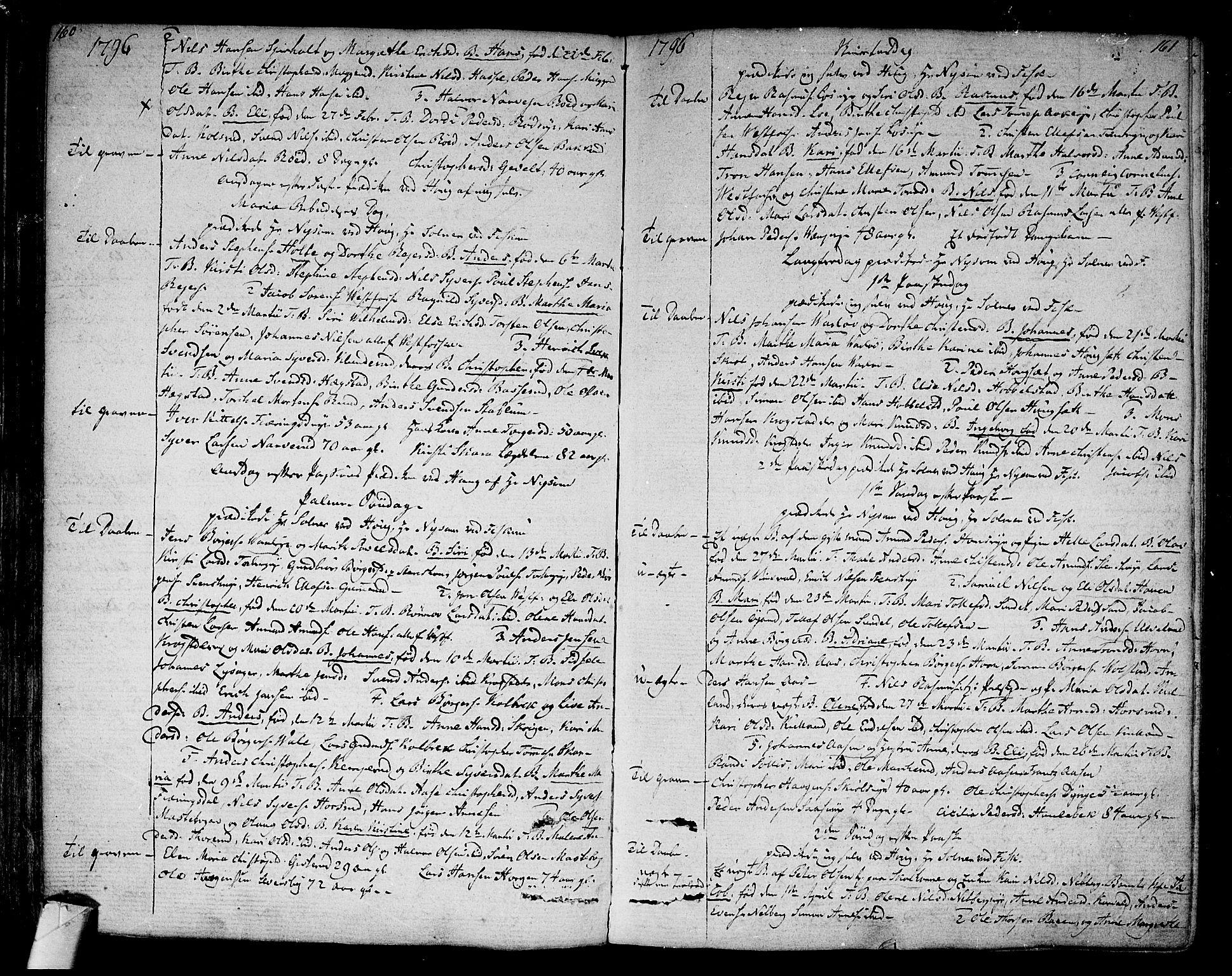 SAKO, Eiker kirkebøker, F/Fa/L0009: Parish register (official) no. I 9, 1789-1806, p. 160-161