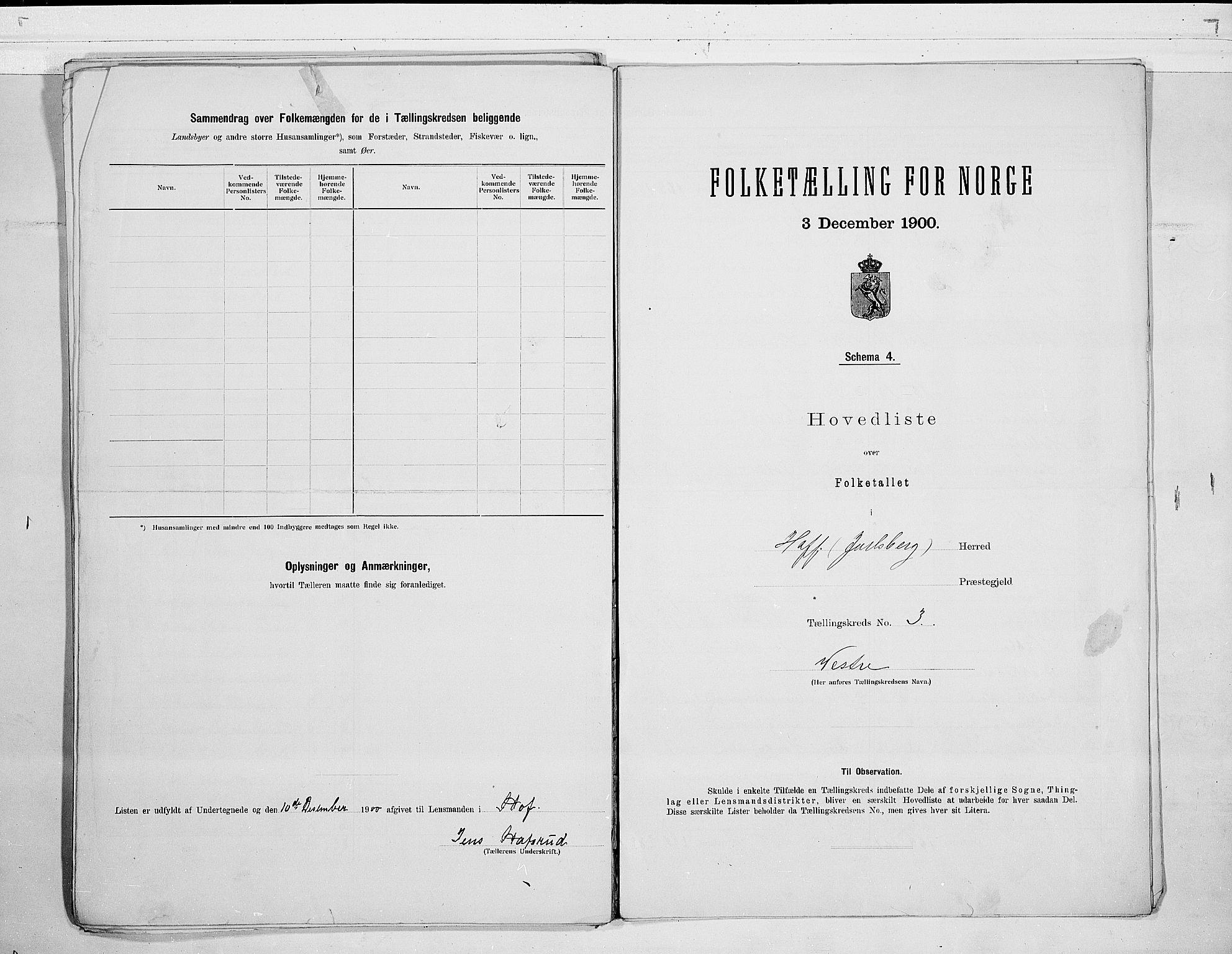 RA, 1900 census for Hof, 1900, p. 10