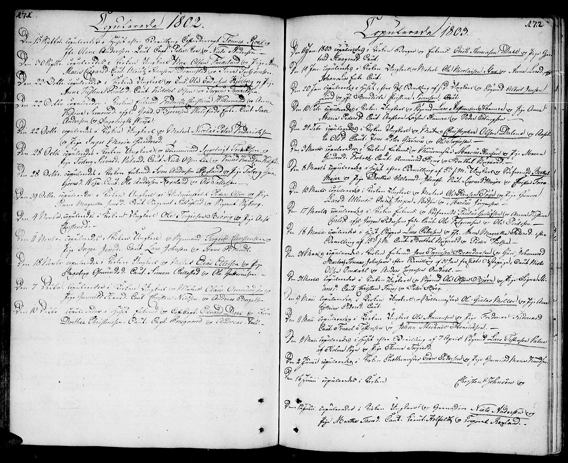 SAK, Kristiansand domprosti, F/Fa/L0005: Parish register (official) no. A 5, 1776-1818, p. 171-172