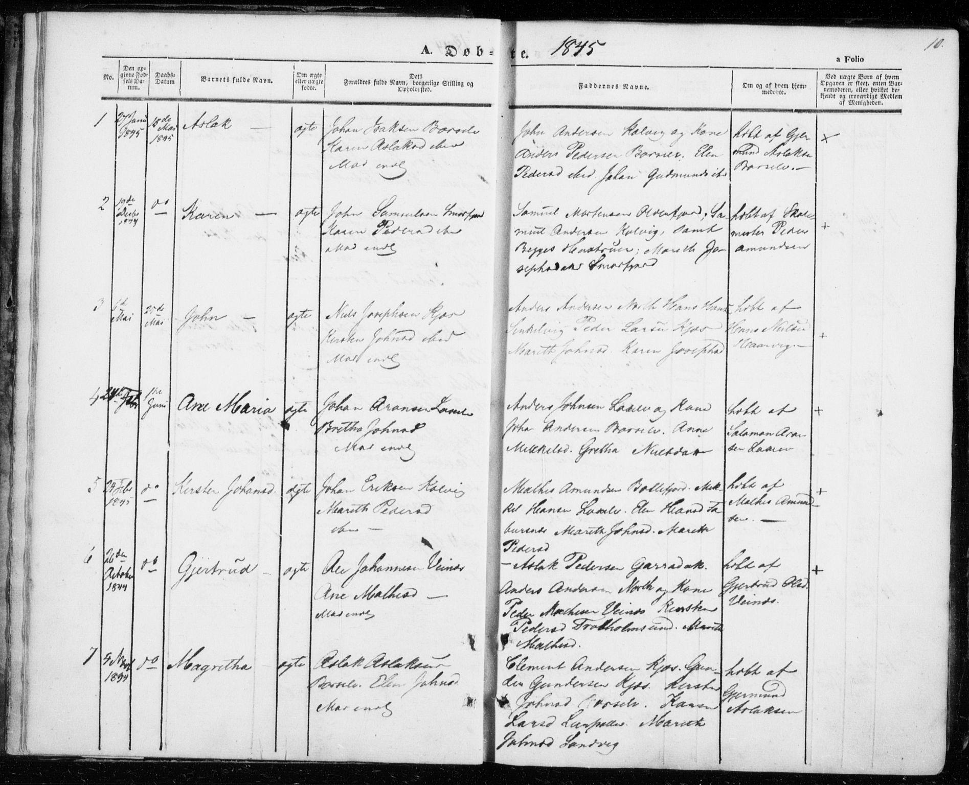 SATØ, Kistrand/Porsanger sokneprestembete, H/Ha/L0004.kirke: Parish register (official) no. 4, 1843-1860, p. 10