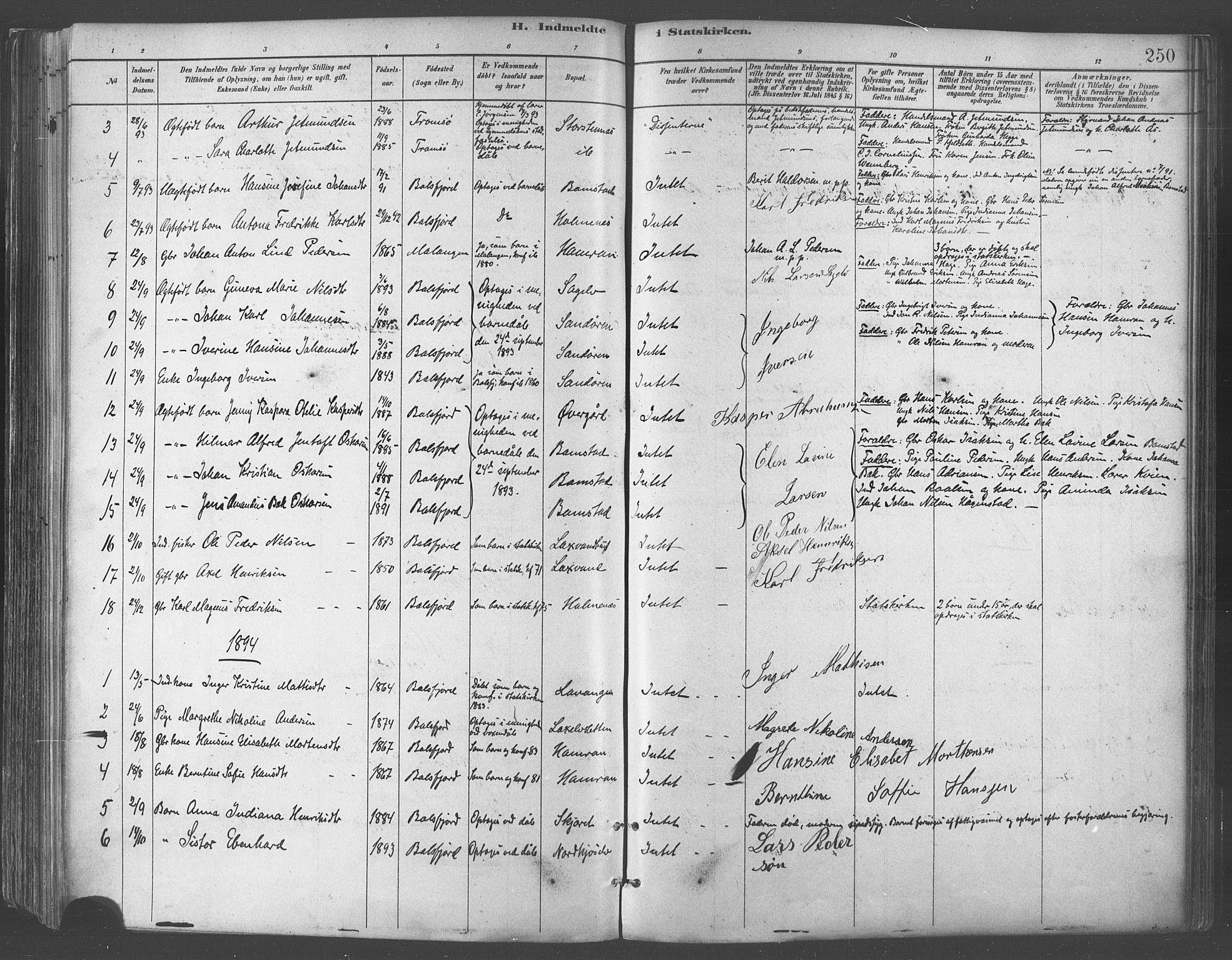 SATØ, Balsfjord sokneprestembete, Parish register (official) no. 5, 1884-1897, p. 250
