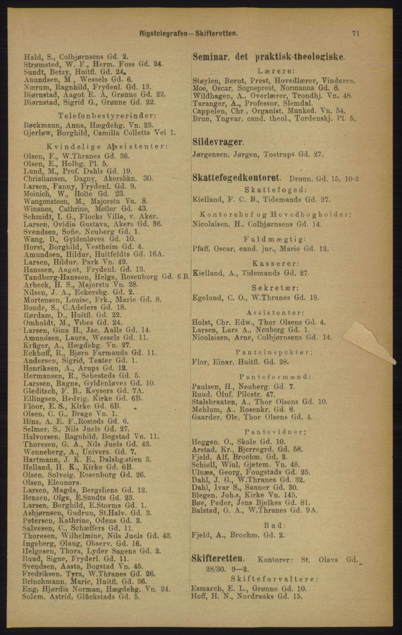 PUBL, Kristiania/Oslo adressebok, 1906, p. 71