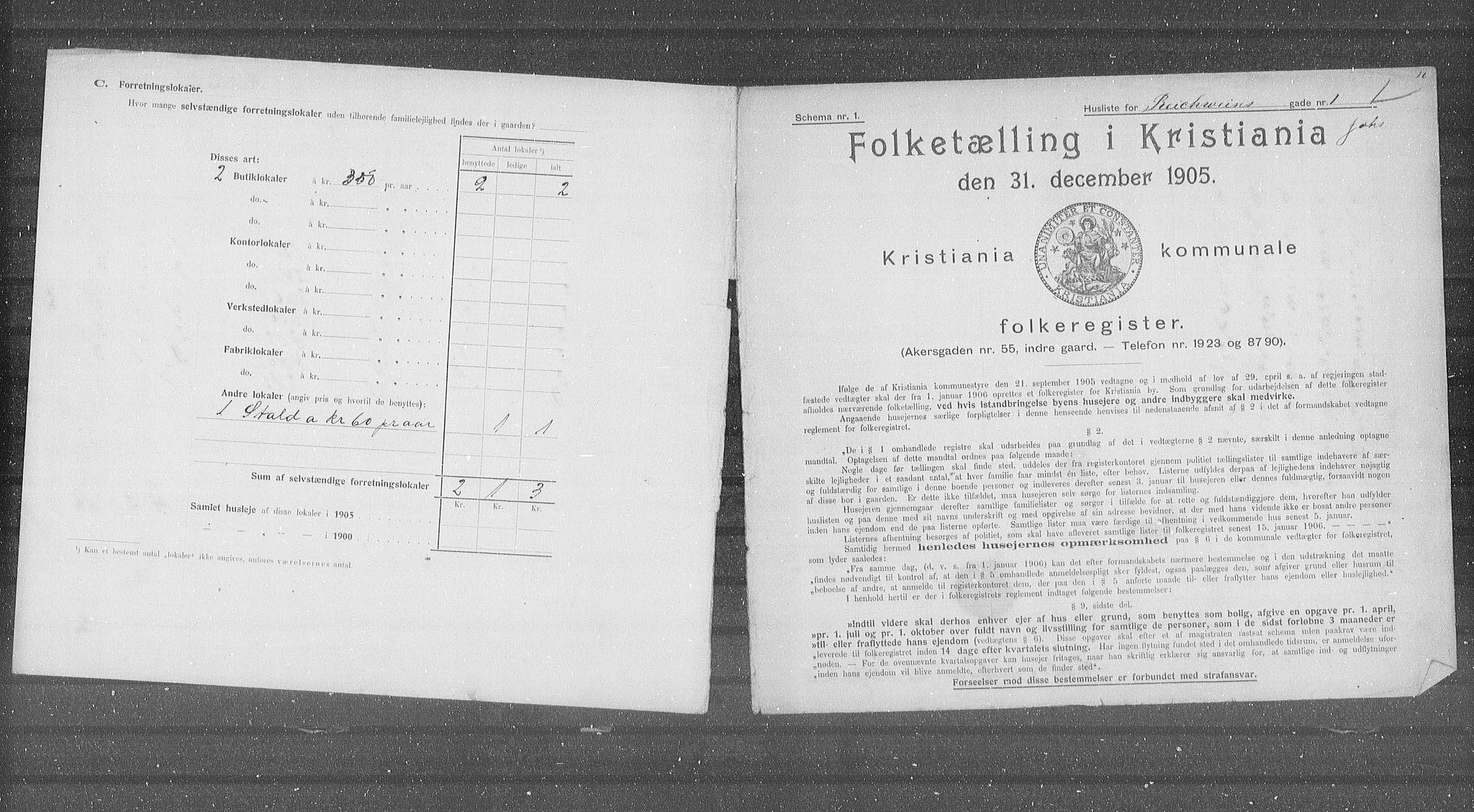 OBA, Municipal Census 1905 for Kristiania, 1905, p. 43346