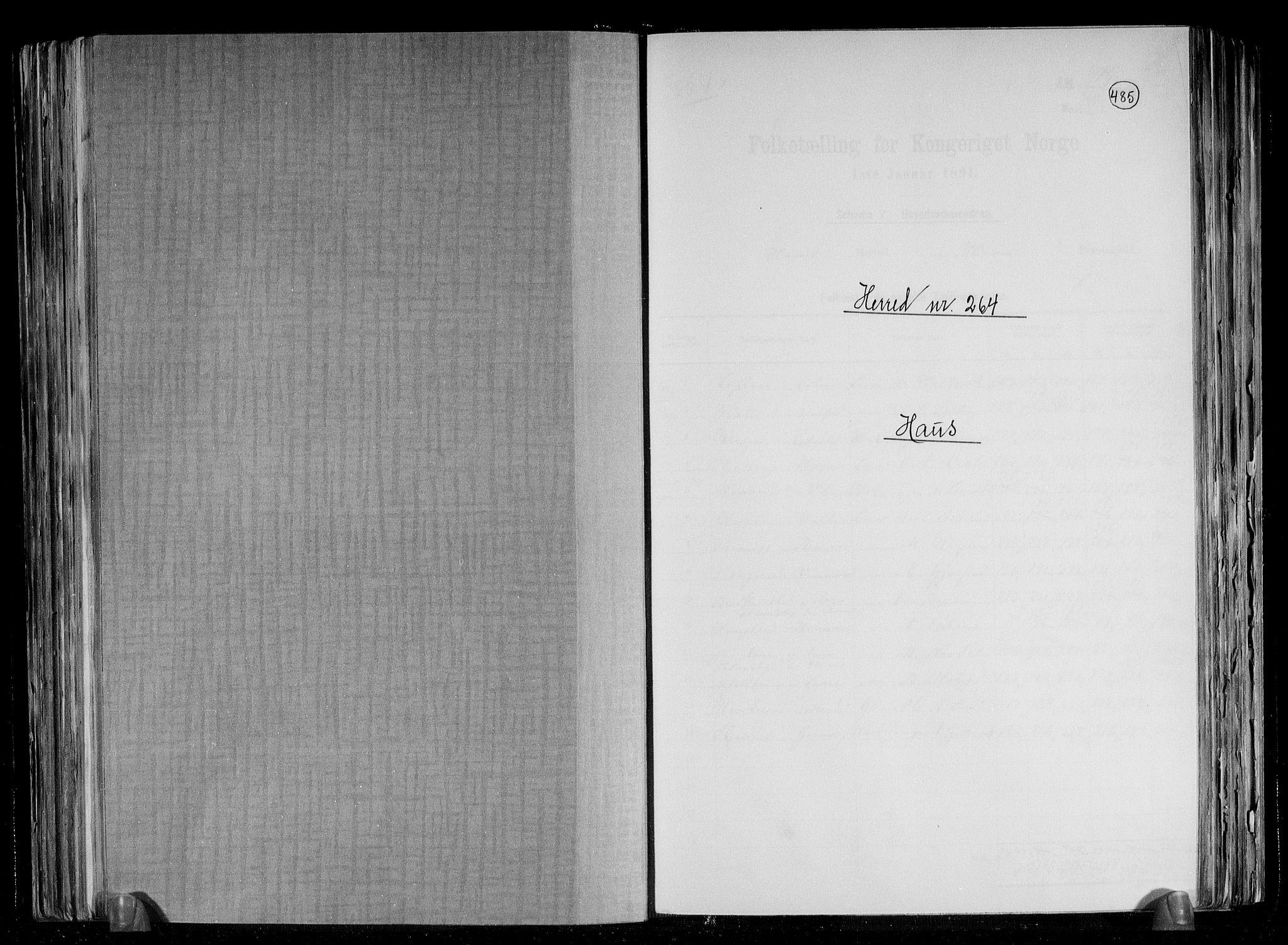 RA, 1891 census for 1250 Haus, 1891, p. 1