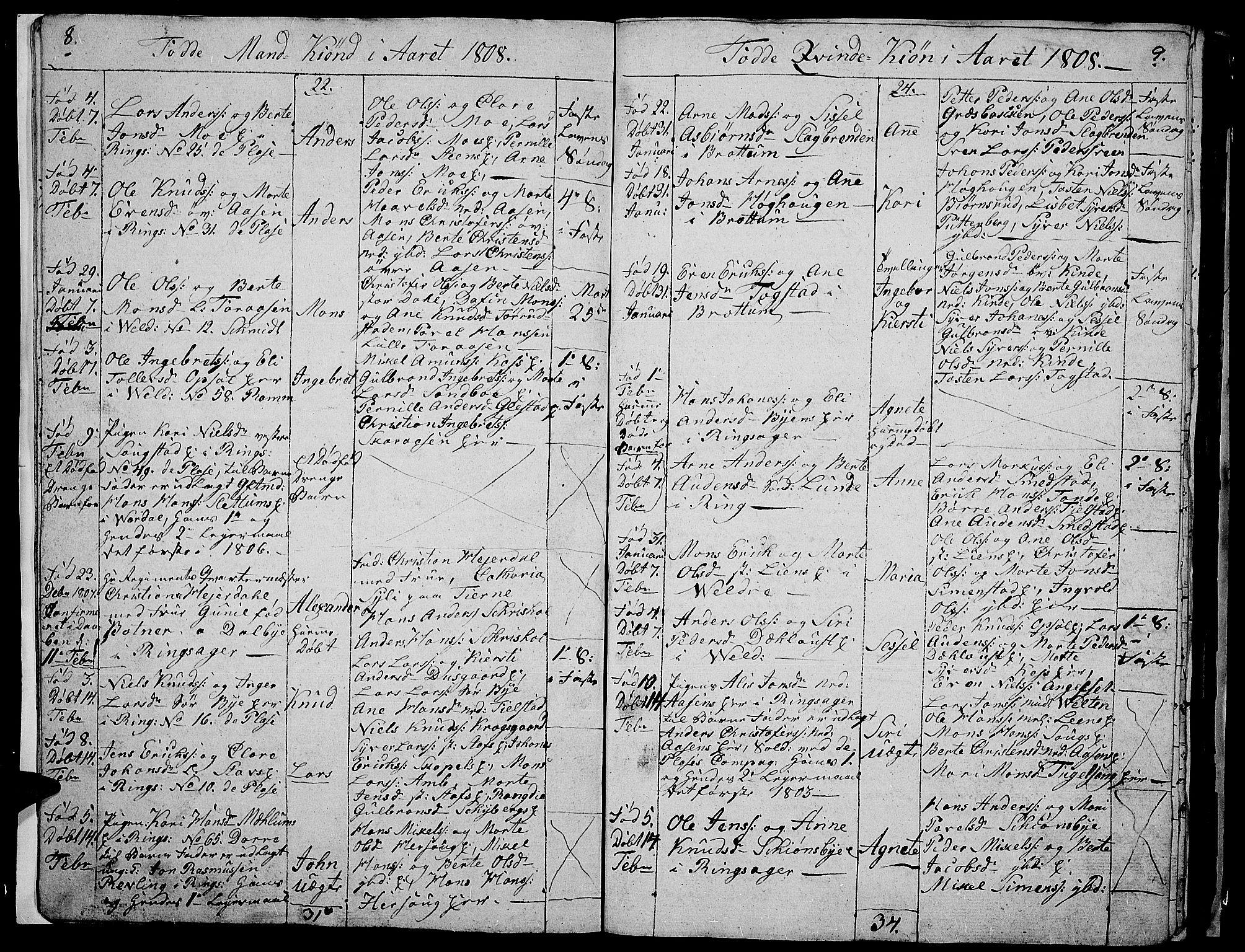 SAH, Ringsaker prestekontor, I/Ia/L0005/0008: Parish register draft no. 1H, 1807-1811, p. 8-9