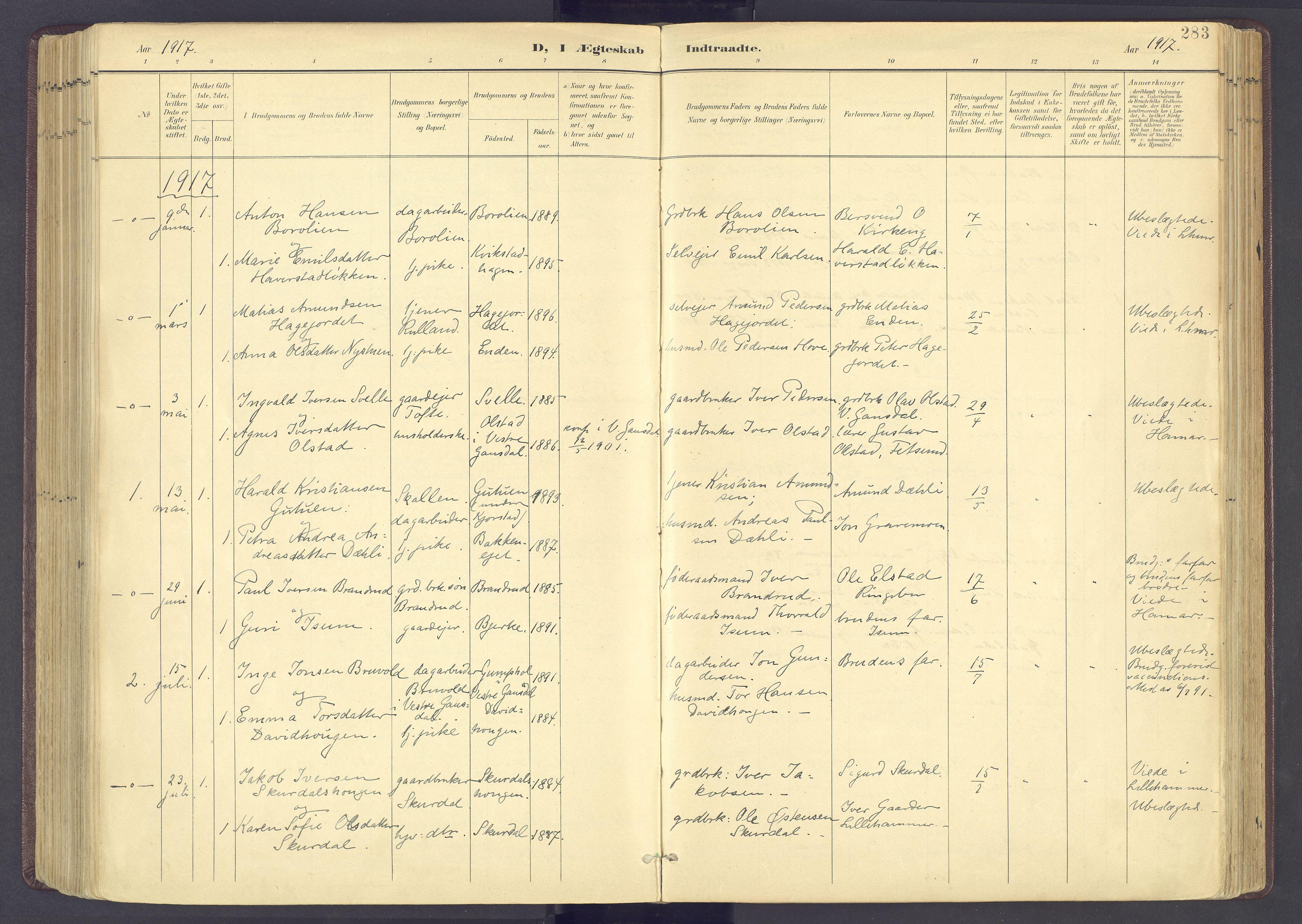 SAH, Sør-Fron prestekontor, H/Ha/Haa/L0004: Parish register (official) no. 4, 1898-1919, p. 283