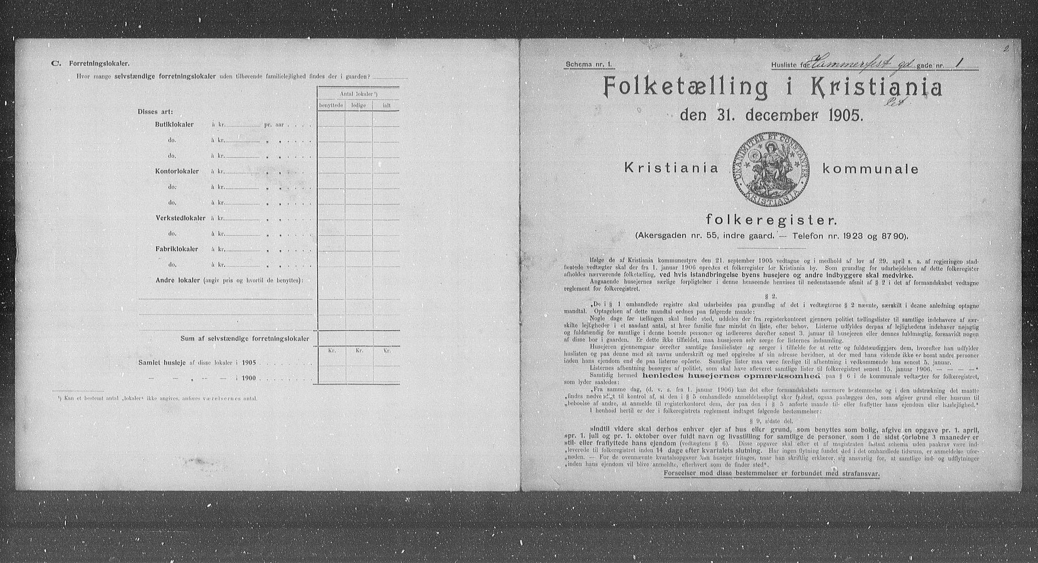 OBA, Municipal Census 1905 for Kristiania, 1905, p. 17689