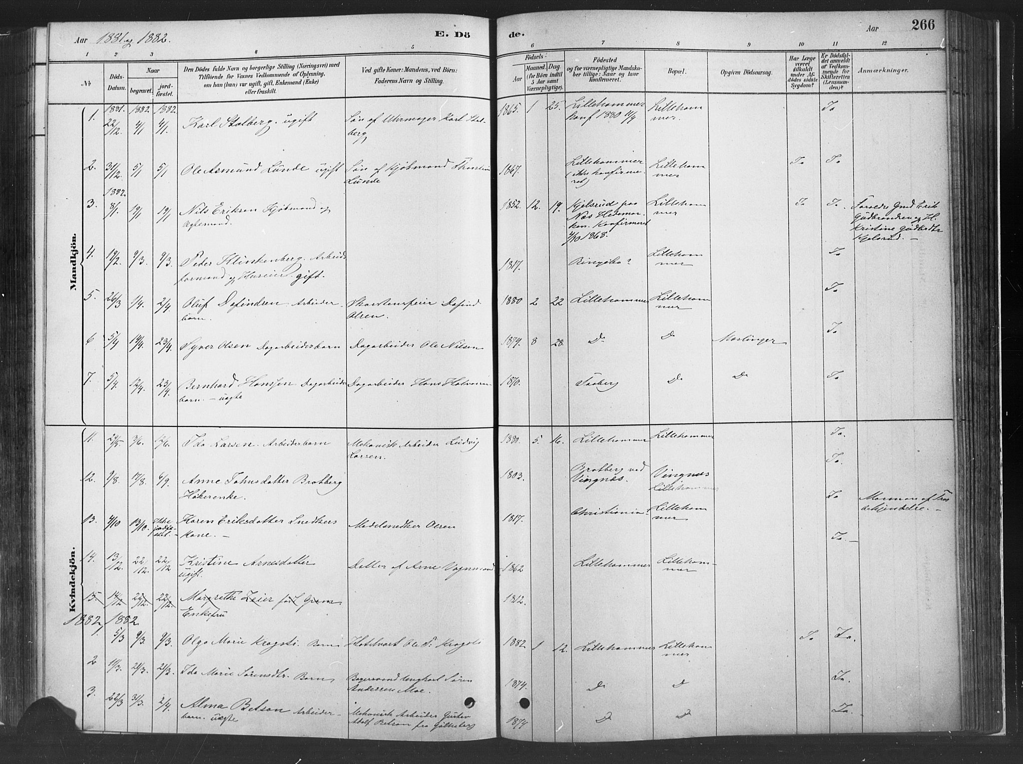 SAH, Fåberg prestekontor, H/Ha/Haa/L0010: Parish register (official) no. 10, 1879-1900, p. 266