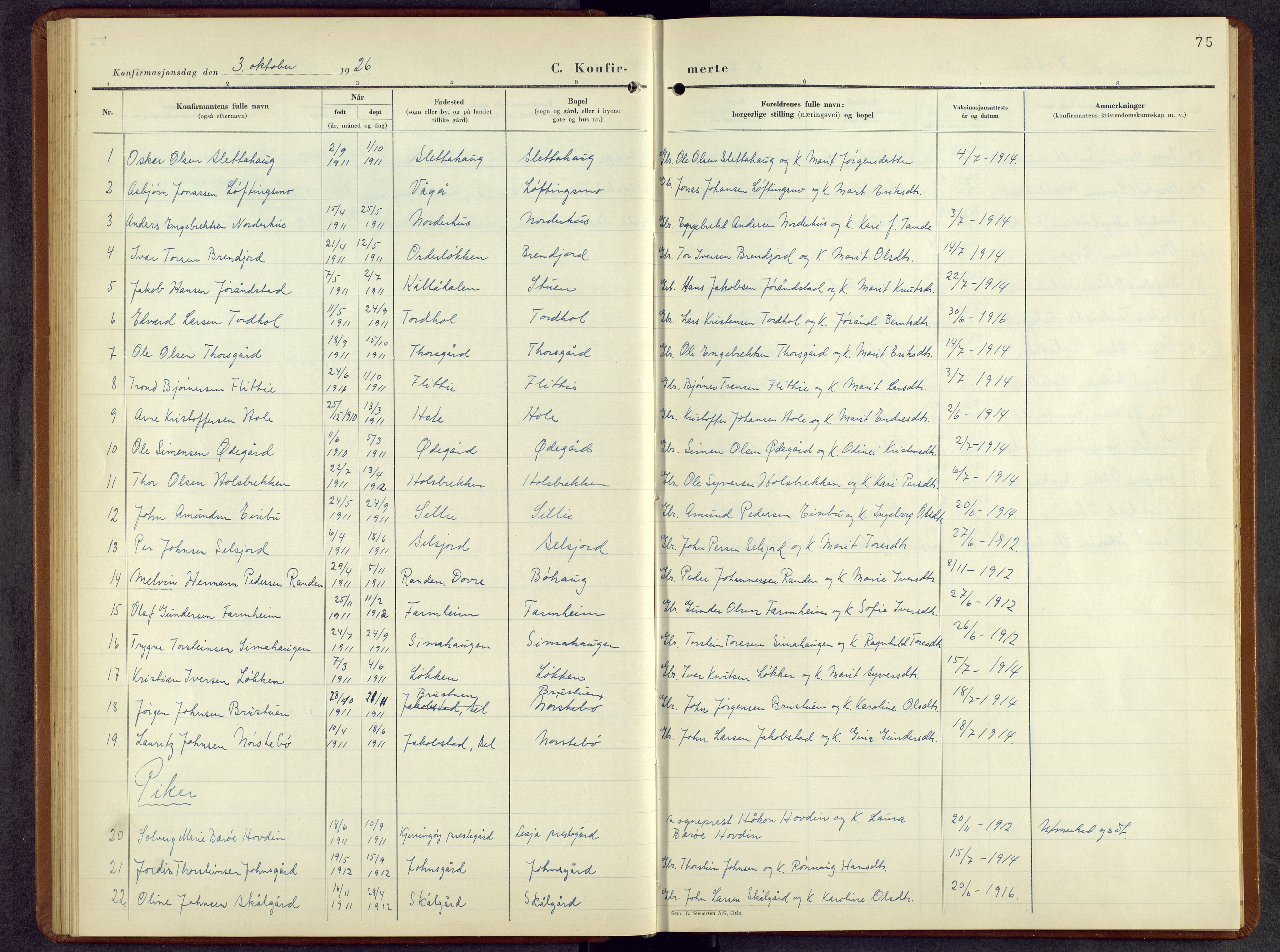 SAH, Lesja prestekontor, Parish register (copy) no. 10, 1925-1960, p. 75