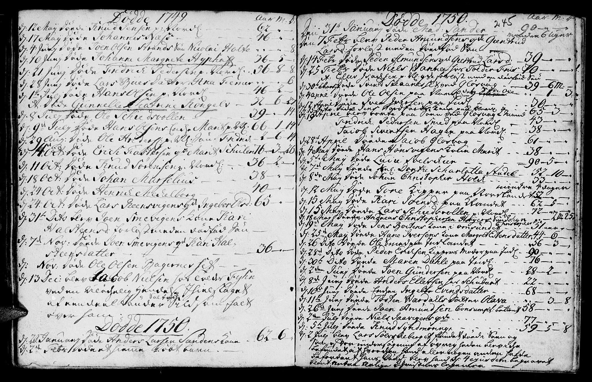SAT, Ministerialprotokoller, klokkerbøker og fødselsregistre - Møre og Romsdal, 572/L0839: Parish register (official) no. 572A02, 1739-1754, p. 244-245