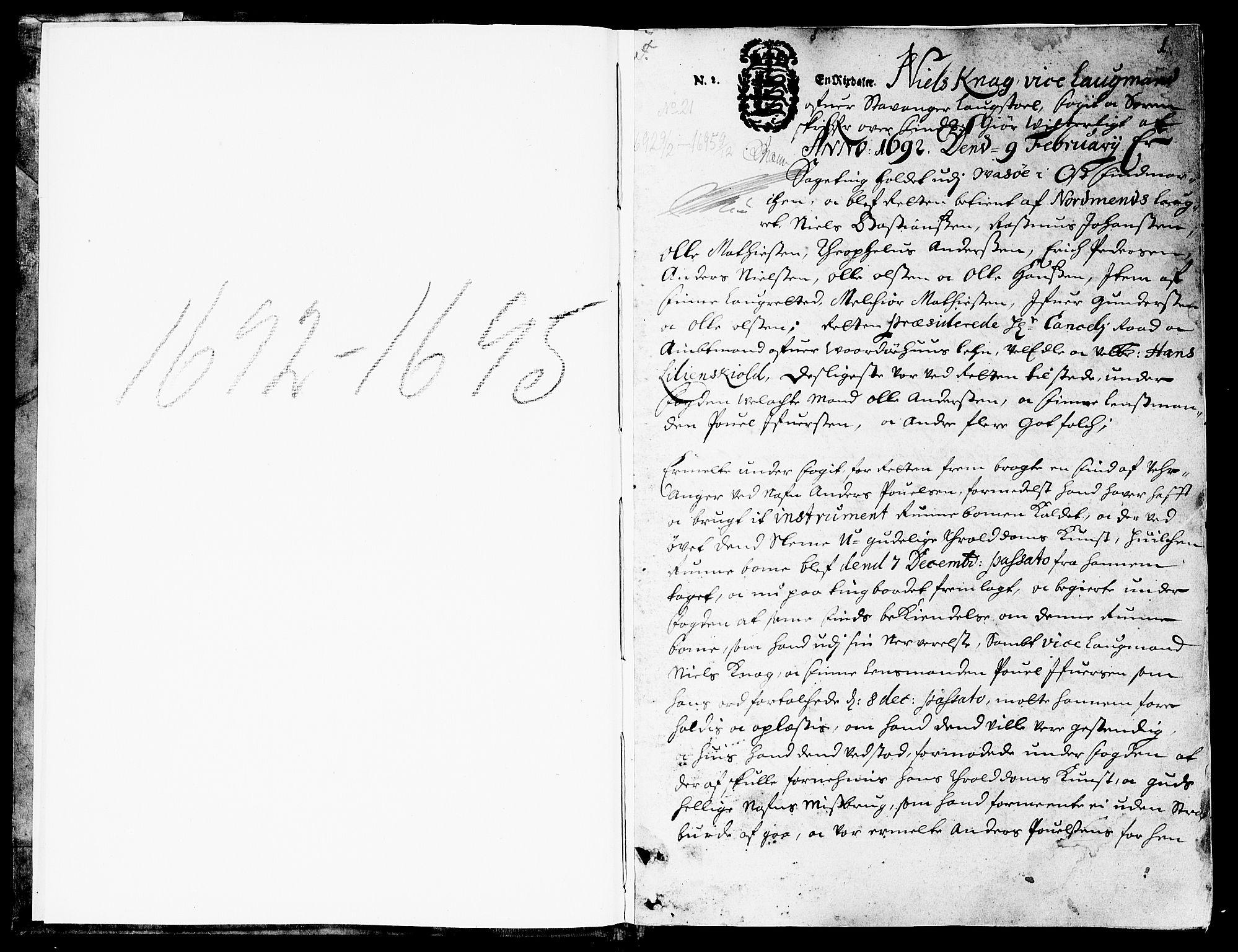 SATØ, Finnmark sorenskriveri, F/Fa/L0025: Justisprotokoller, 1692-1695, p. 0b-1a