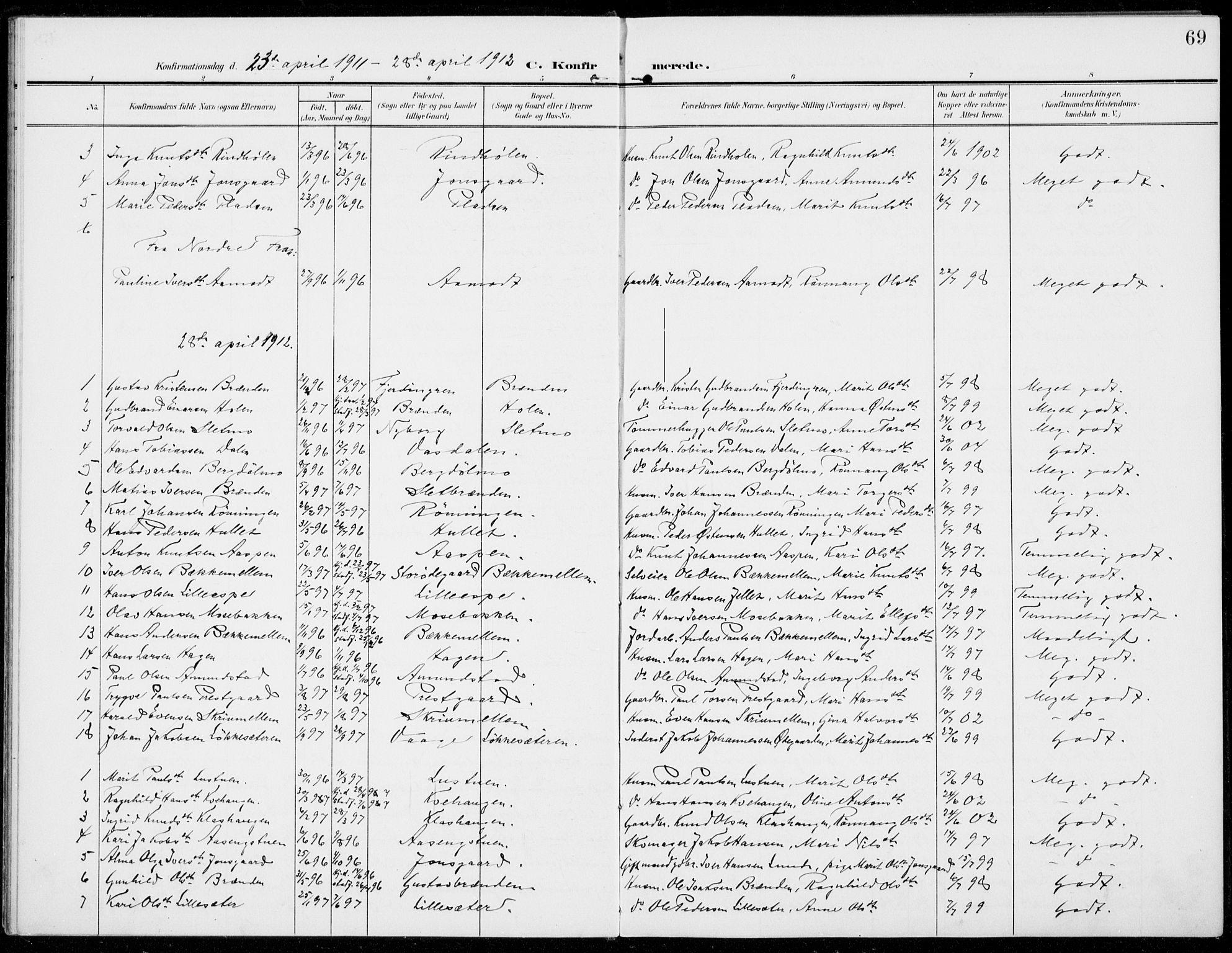SAH, Sel prestekontor, Parish register (official) no. 1, 1905-1922, p. 69