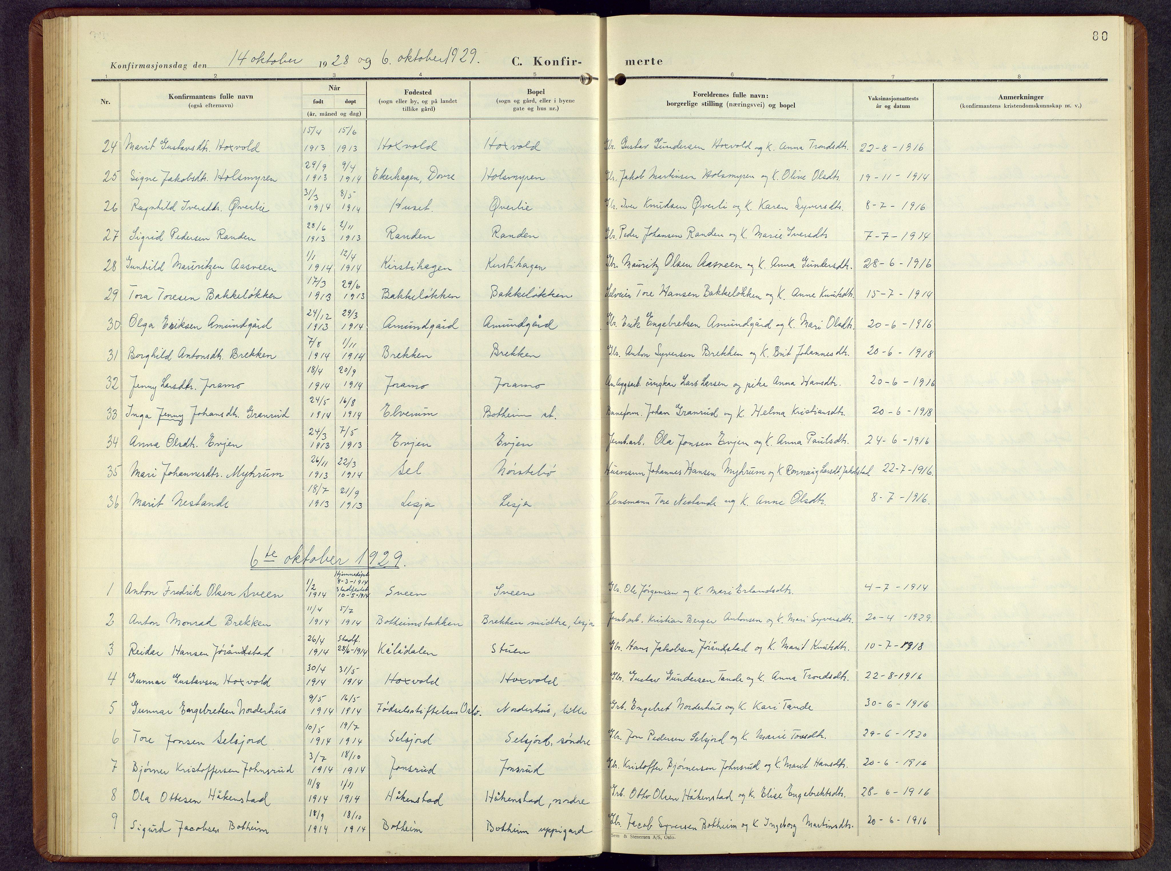 SAH, Lesja prestekontor, Parish register (copy) no. 10, 1925-1960, p. 80