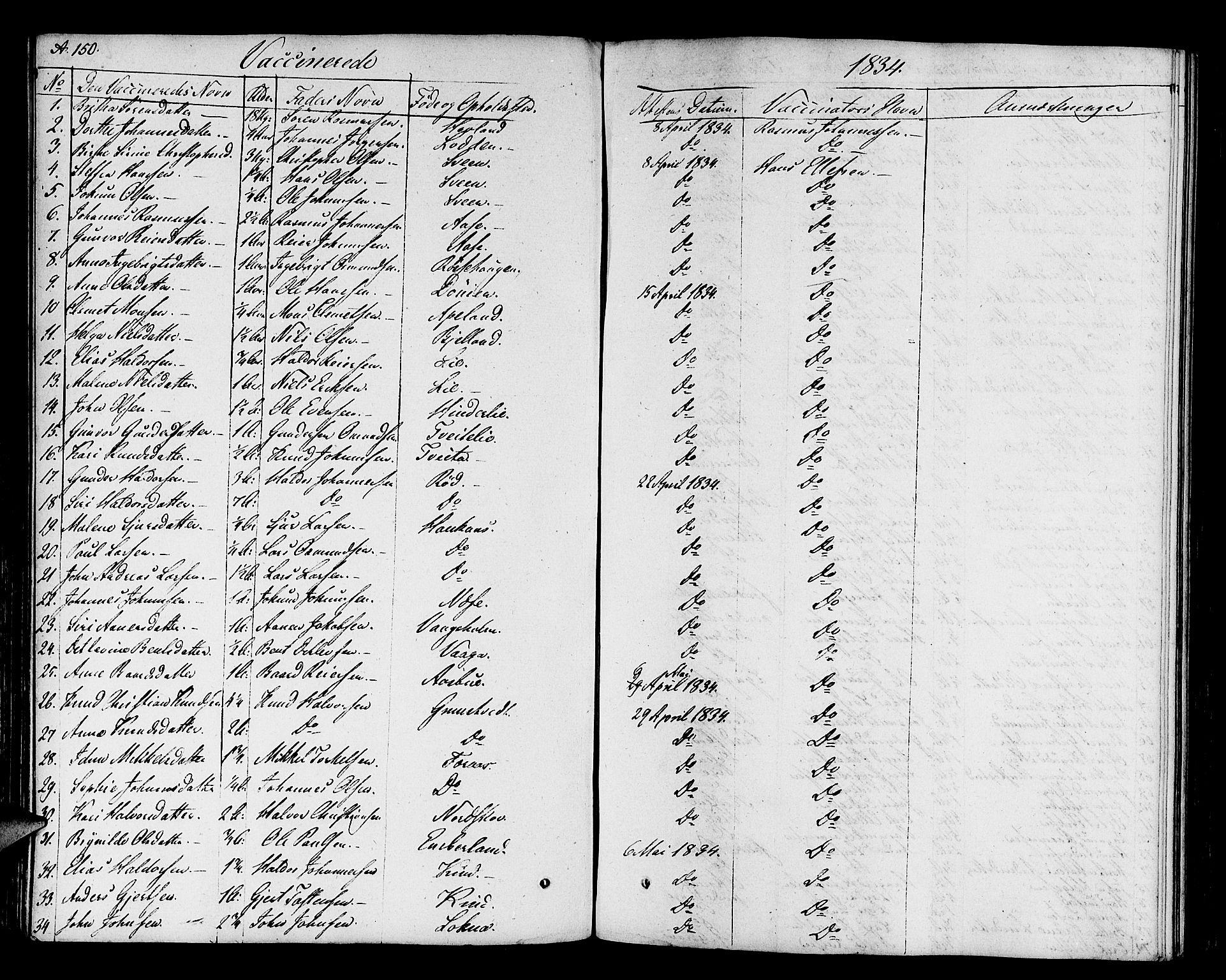 SAB, Finnås sokneprestembete, H/Ha/Haa/Haaa/L0005: Parish register (official) no. A 5, 1823-1835, p. 150