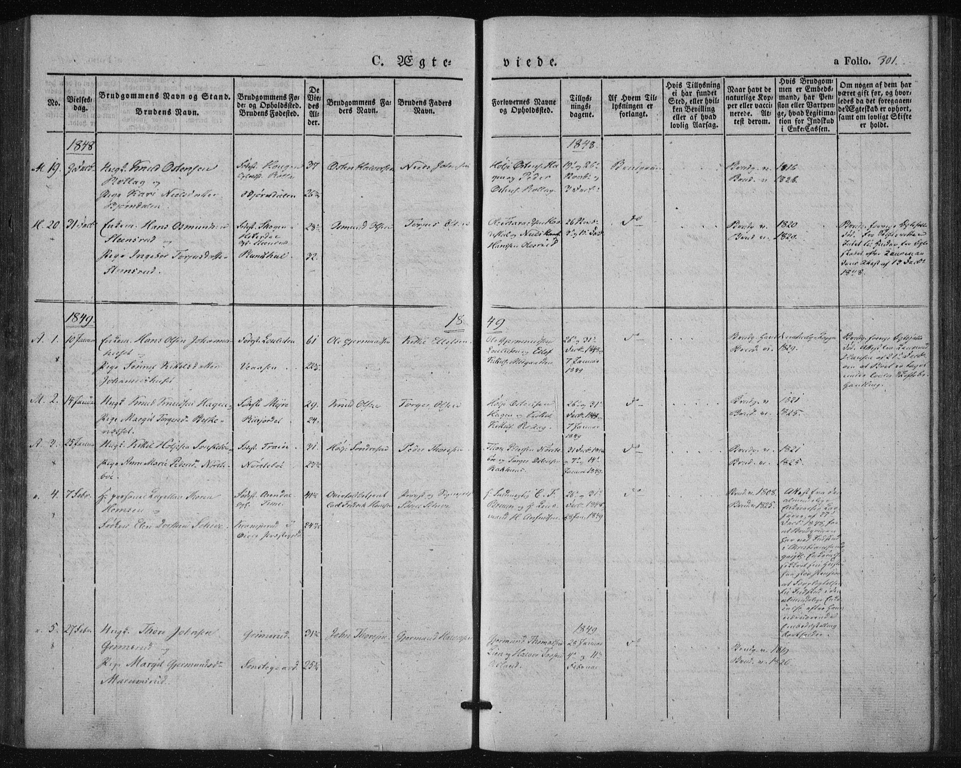 SAKO, Tinn kirkebøker, F/Fa/L0005: Parish register (official) no. I 5, 1844-1856, p. 301