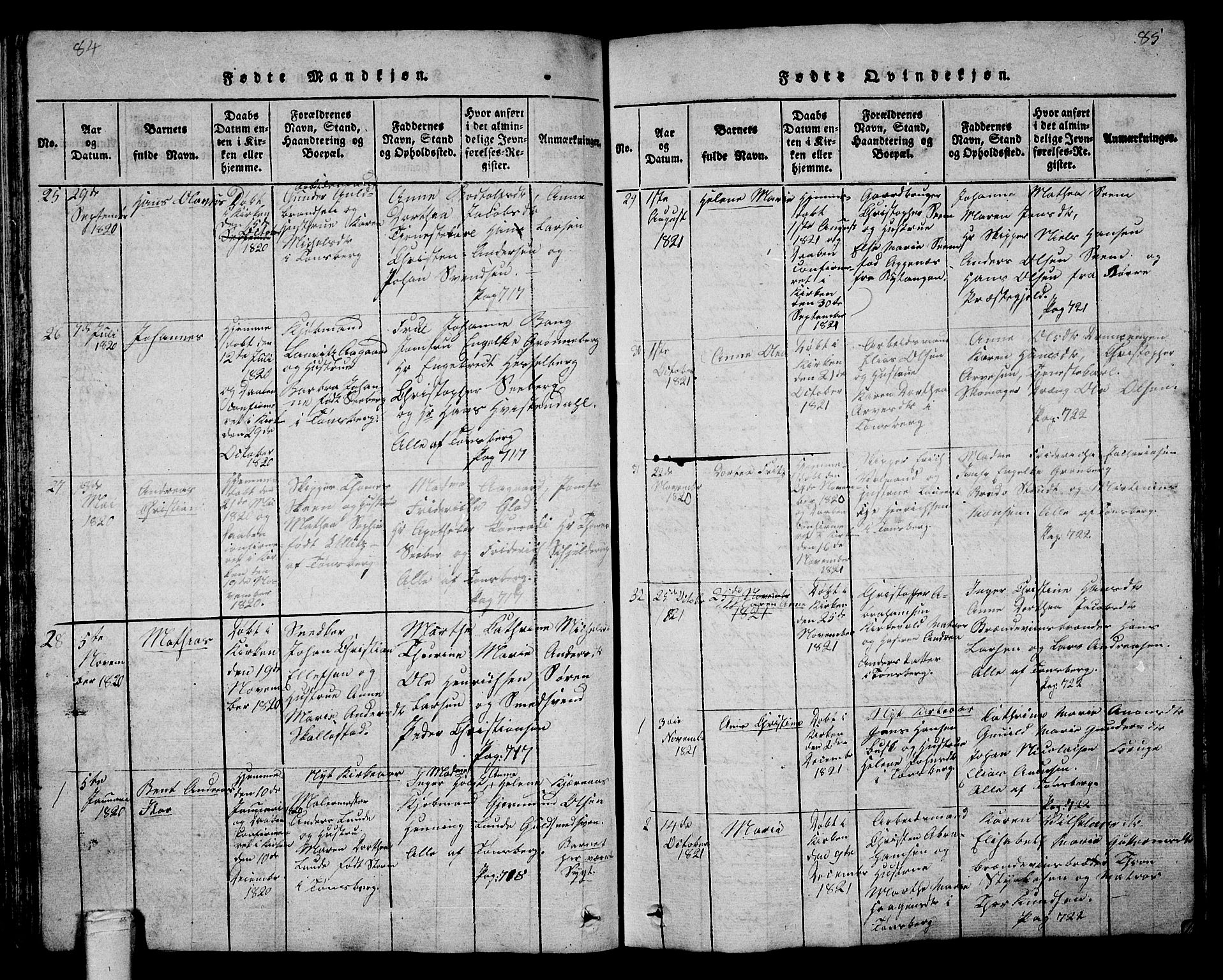 SAKO, Tønsberg kirkebøker, G/Ga/L0001: Parish register (copy) no. 1, 1813-1826, p. 84-85