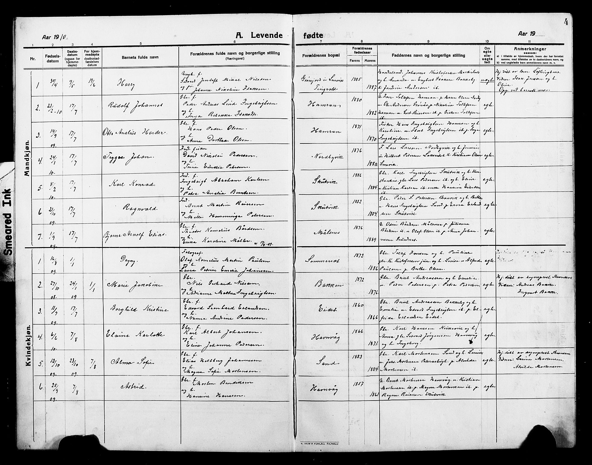SATØ, Balsfjord sokneprestembete, Parish register (copy) no. 4, 1910-1926, p. 4