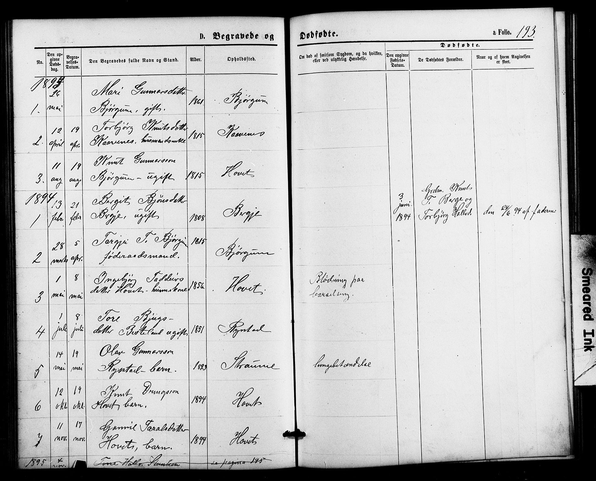 SAK, Valle sokneprestkontor, F/Fb/Fbb/L0002: Parish register (copy) no. B 2, 1875-1921, p. 193
