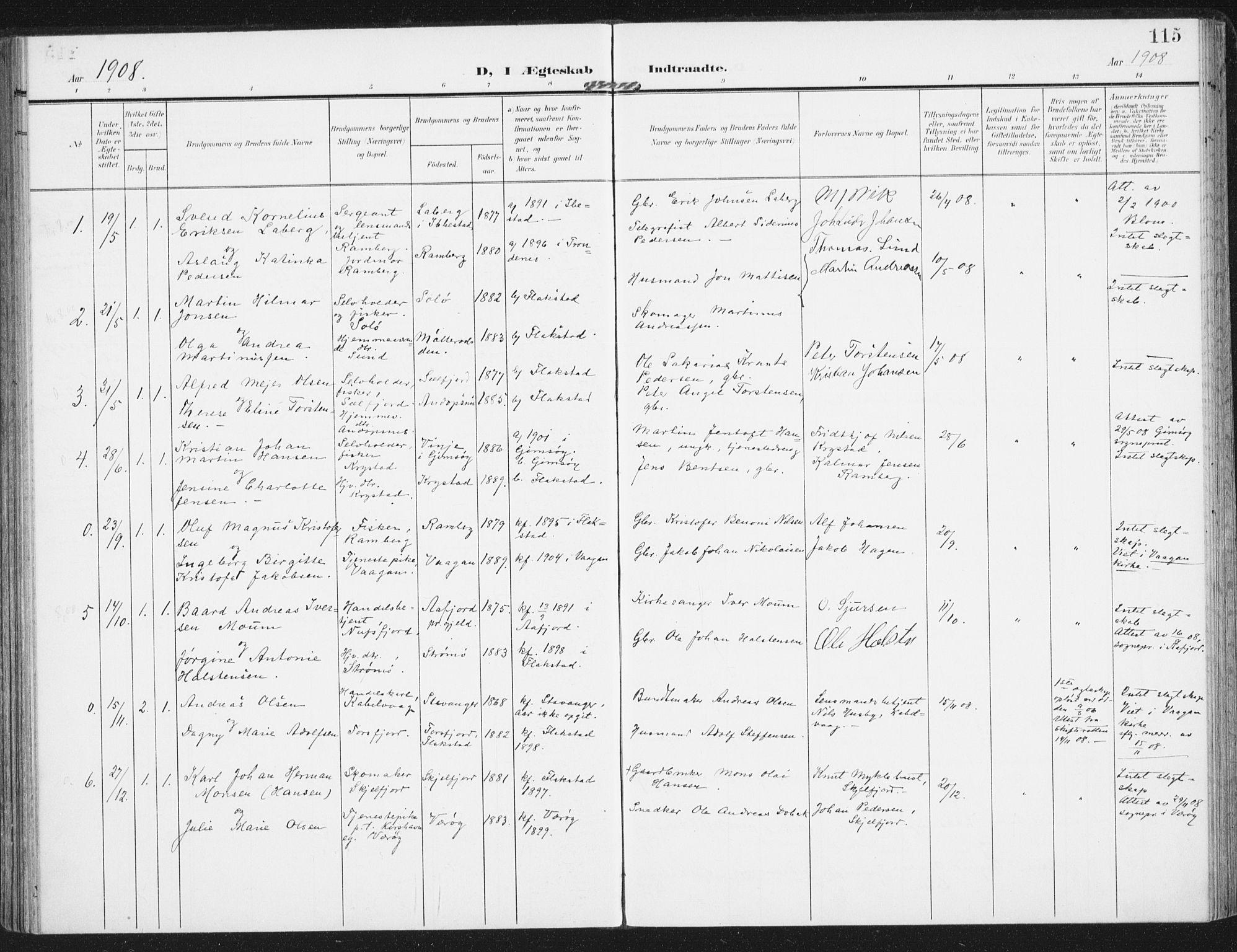 SAT, Ministerialprotokoller, klokkerbøker og fødselsregistre - Nordland, 885/L1206: Parish register (official) no. 885A07, 1905-1915, p. 115