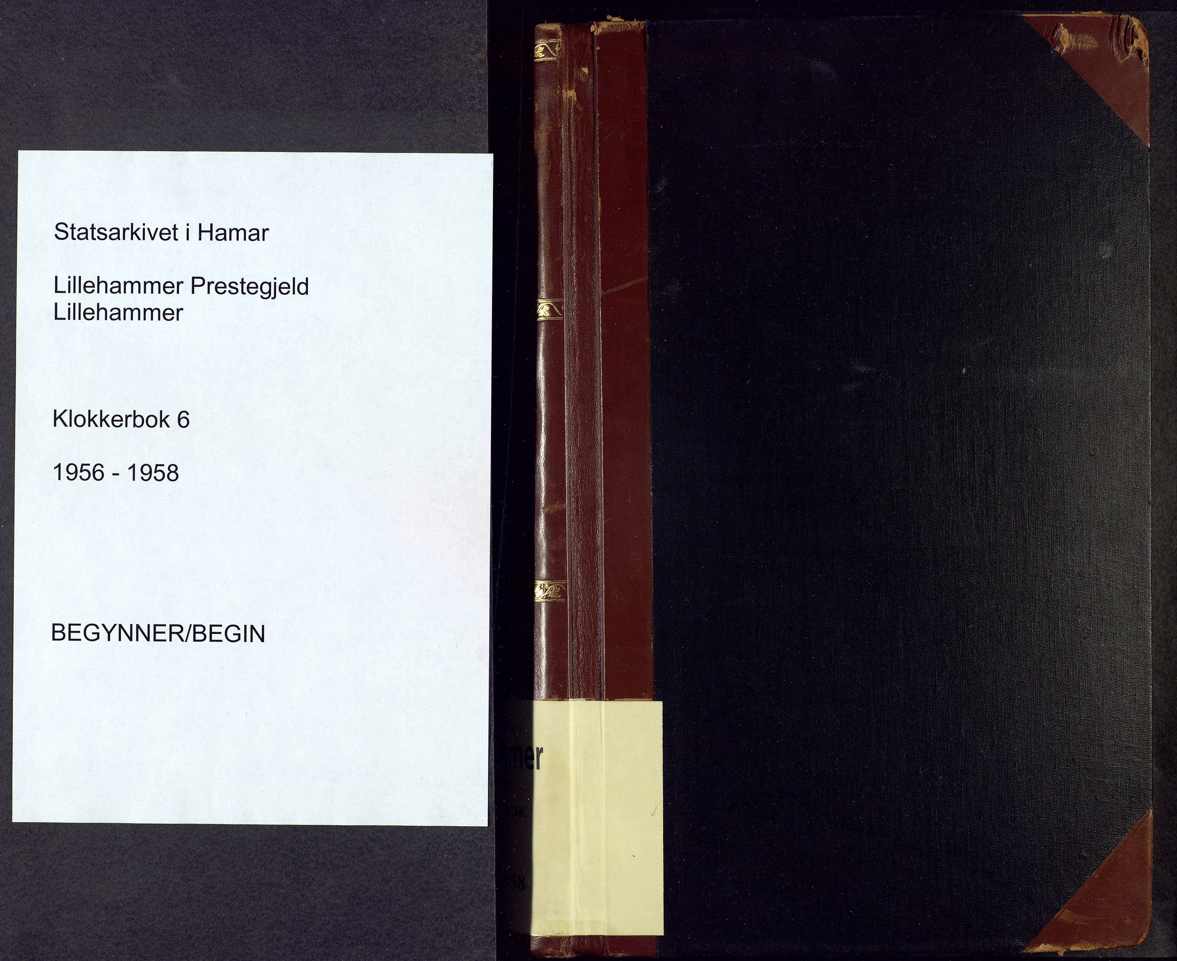 SAH, Lillehammer prestekontor, H/Ha/Hab/L0006: Parish register (copy) no. 6, 1956-1958