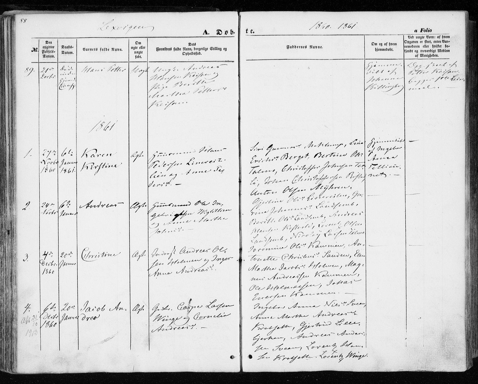 SAT, Ministerialprotokoller, klokkerbøker og fødselsregistre - Nord-Trøndelag, 701/L0008: Parish register (official) no. 701A08 /1, 1854-1863, p. 88