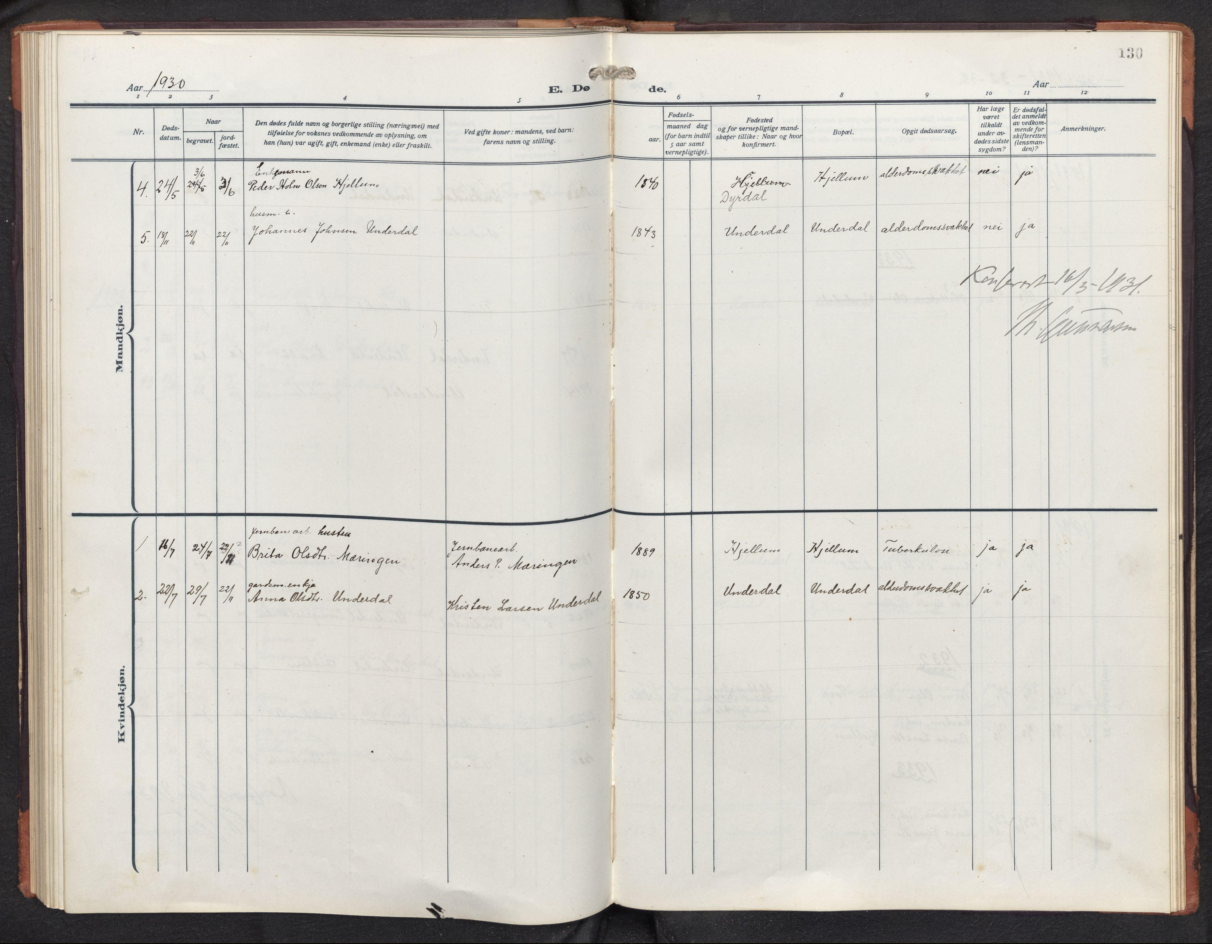 SAB, Aurland sokneprestembete, H/Hb/Hbd/L0003: Parish register (copy) no. D 3, 1920-1968, p. 129b-130a