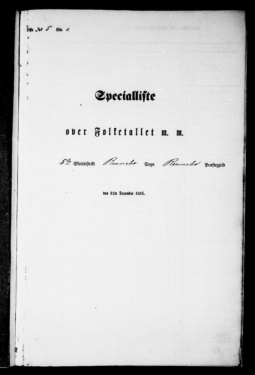 RA, 1865 census for Rennebu, 1865, p. 108