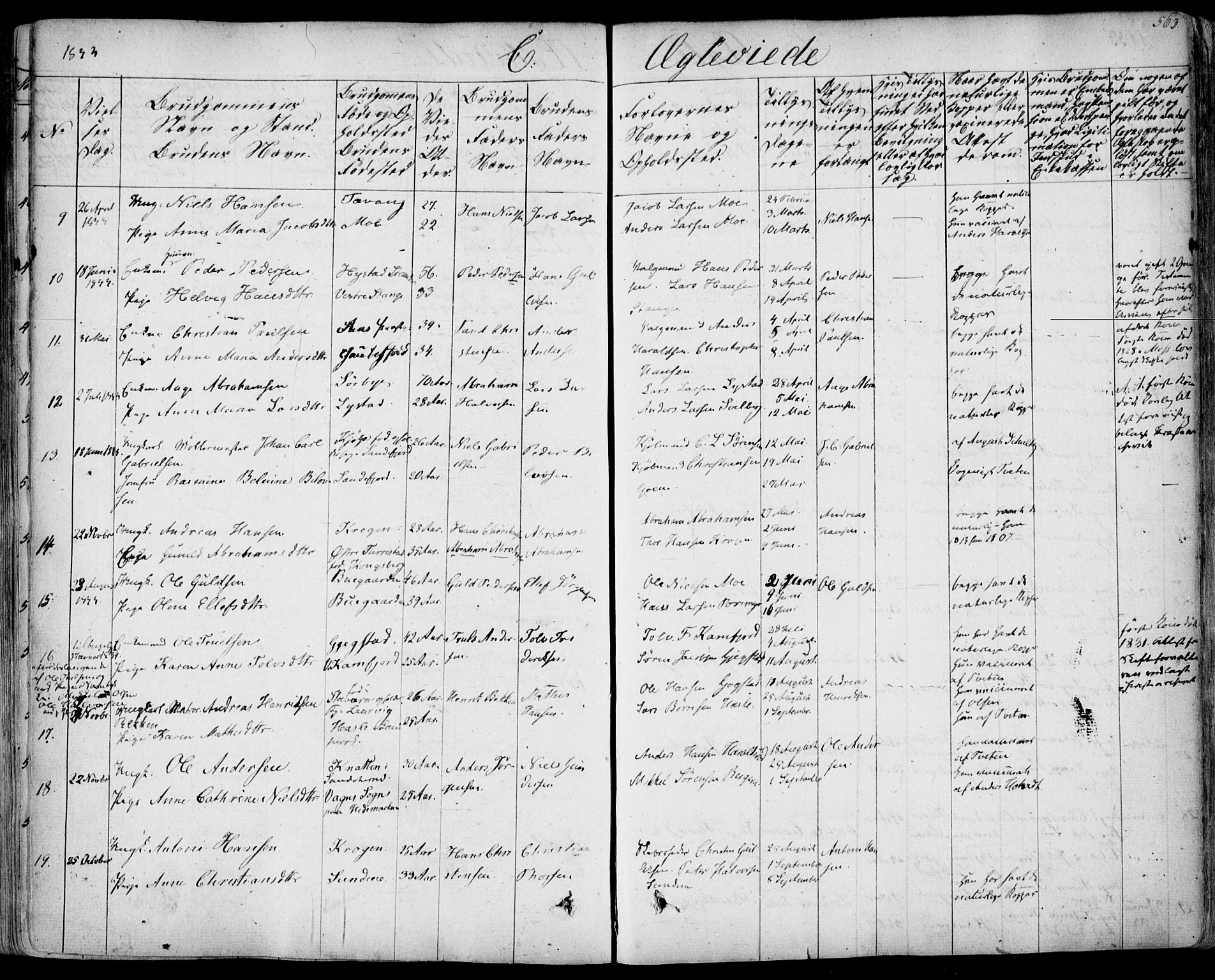 SAKO, Sandar kirkebøker, F/Fa/L0005: Parish register (official) no. 5, 1832-1847, p. 562-563