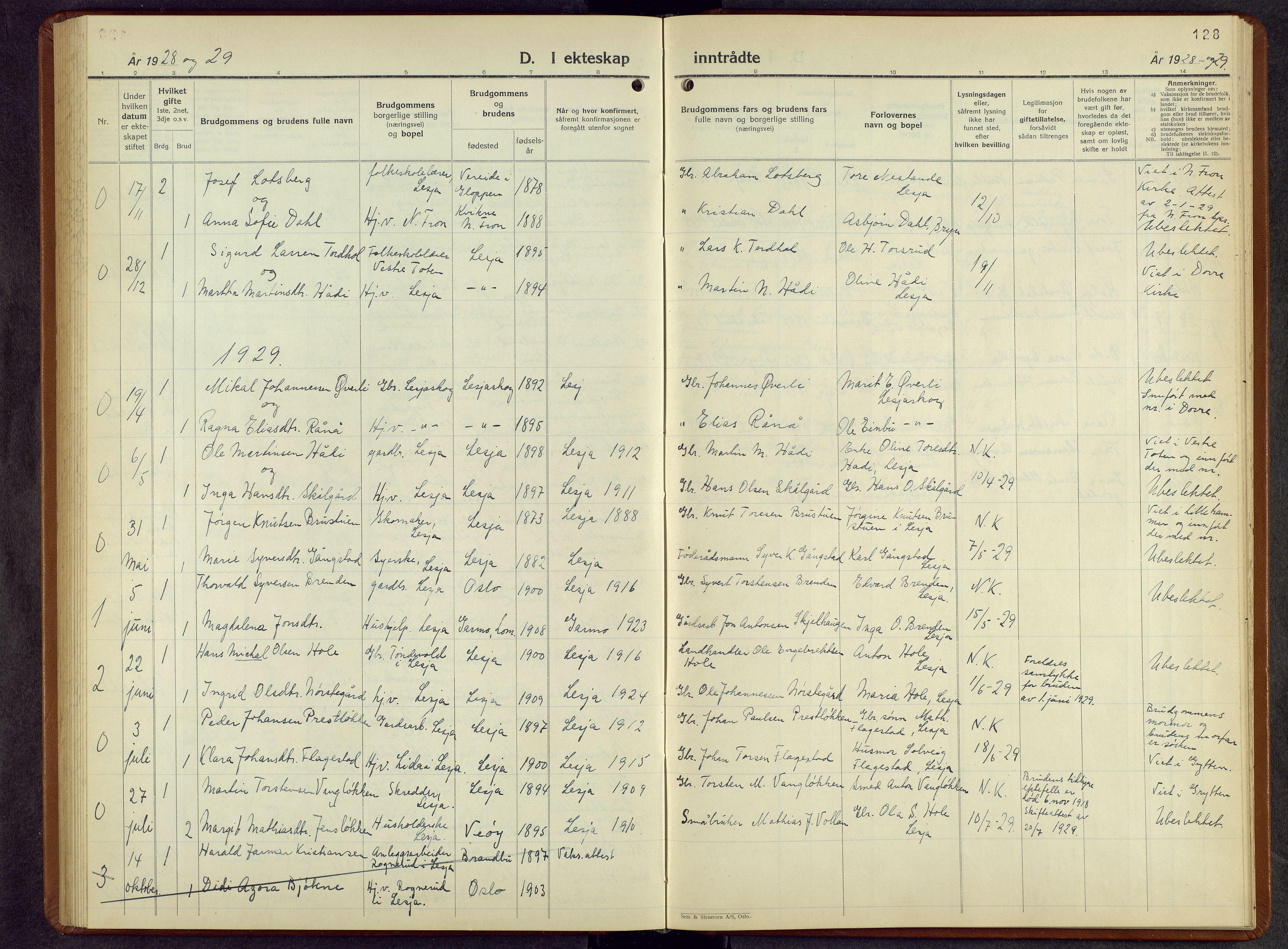 SAH, Lesja prestekontor, Parish register (copy) no. 10, 1925-1960, p. 128