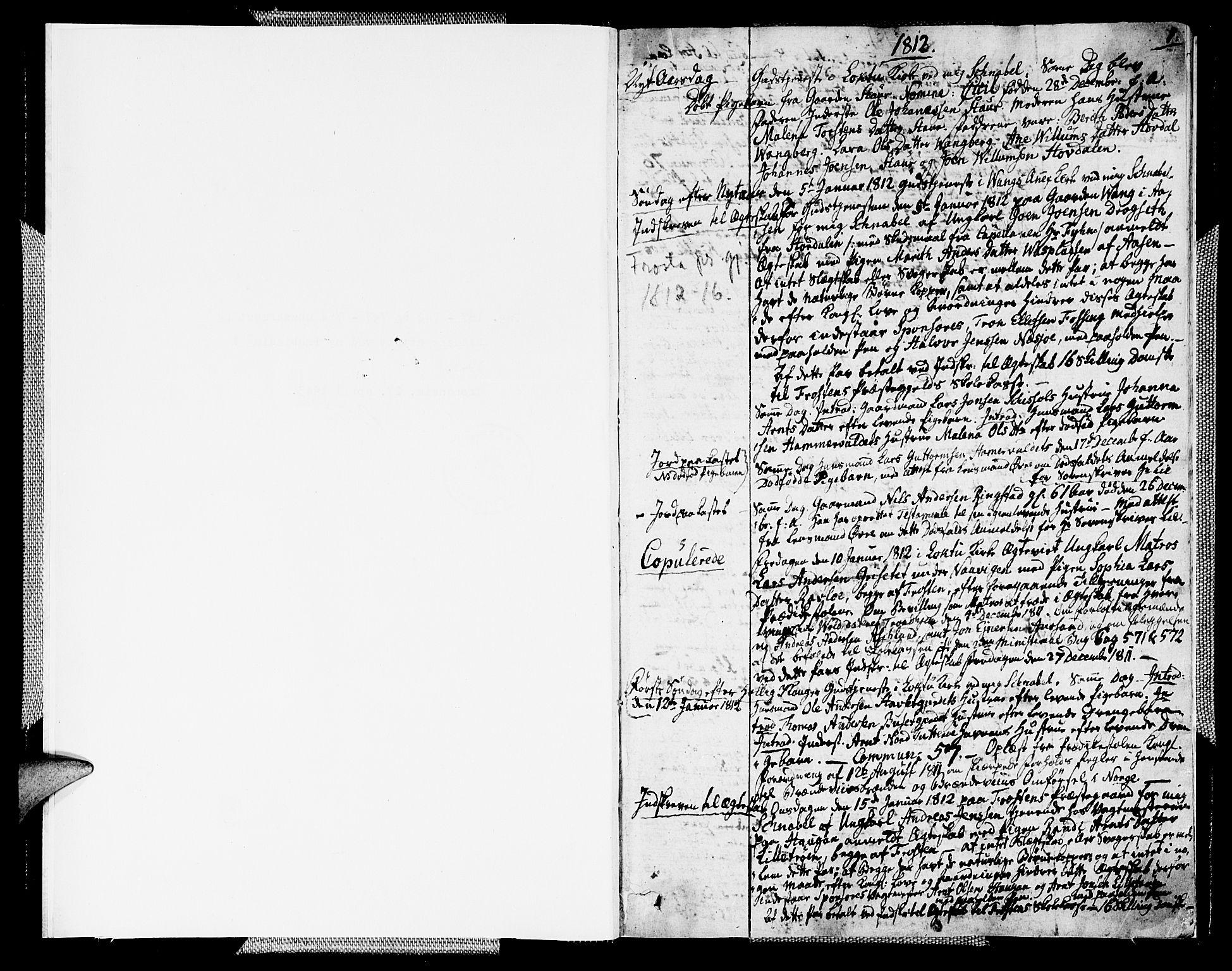 SAT, Ministerialprotokoller, klokkerbøker og fødselsregistre - Nord-Trøndelag, 713/L0111: Parish register (official) no. 713A03, 1812-1816, p. 0-1