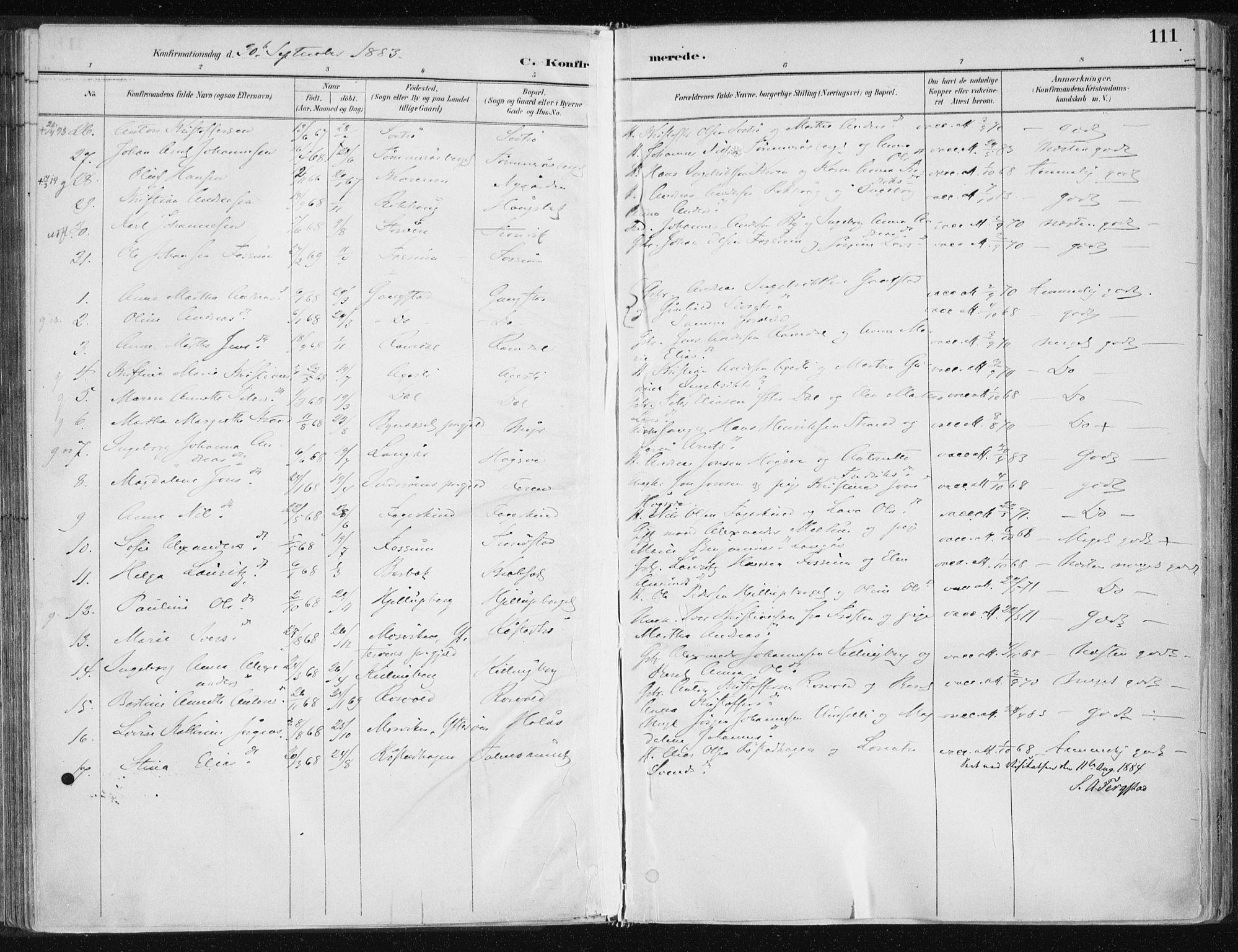 SAT, Ministerialprotokoller, klokkerbøker og fødselsregistre - Nord-Trøndelag, 701/L0010: Parish register (official) no. 701A10, 1883-1899, p. 111