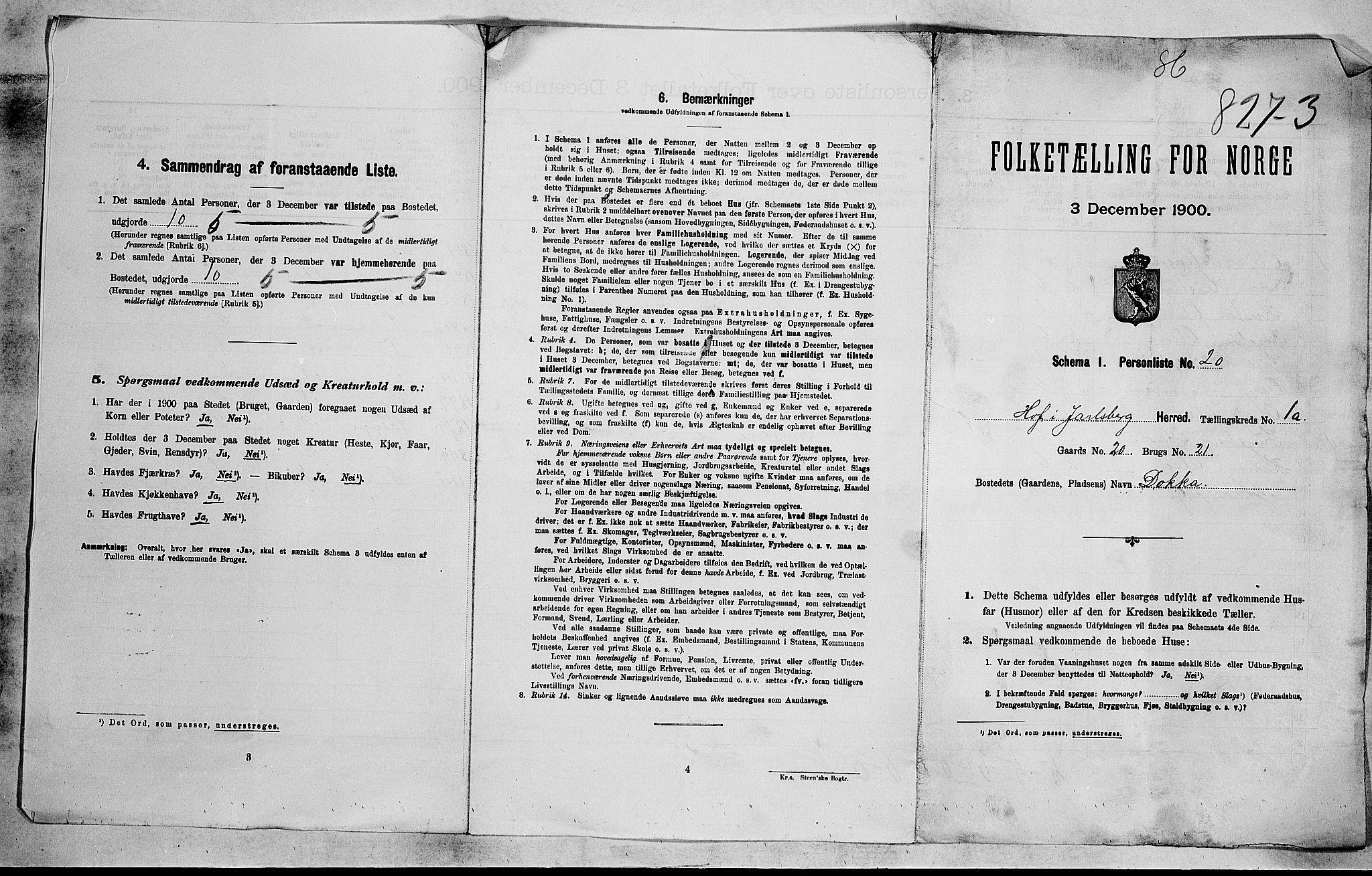 RA, 1900 census for Hof, 1900, p. 20