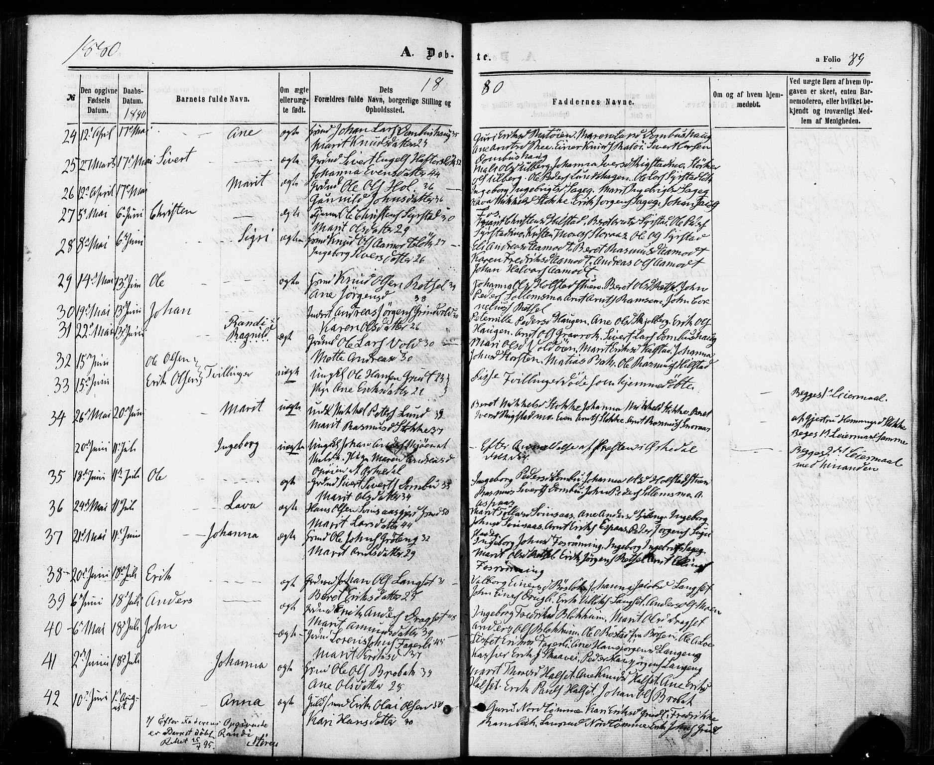 SAT, Ministerialprotokoller, klokkerbøker og fødselsregistre - Sør-Trøndelag, 672/L0856: Parish register (official) no. 672A08, 1861-1881, p. 89