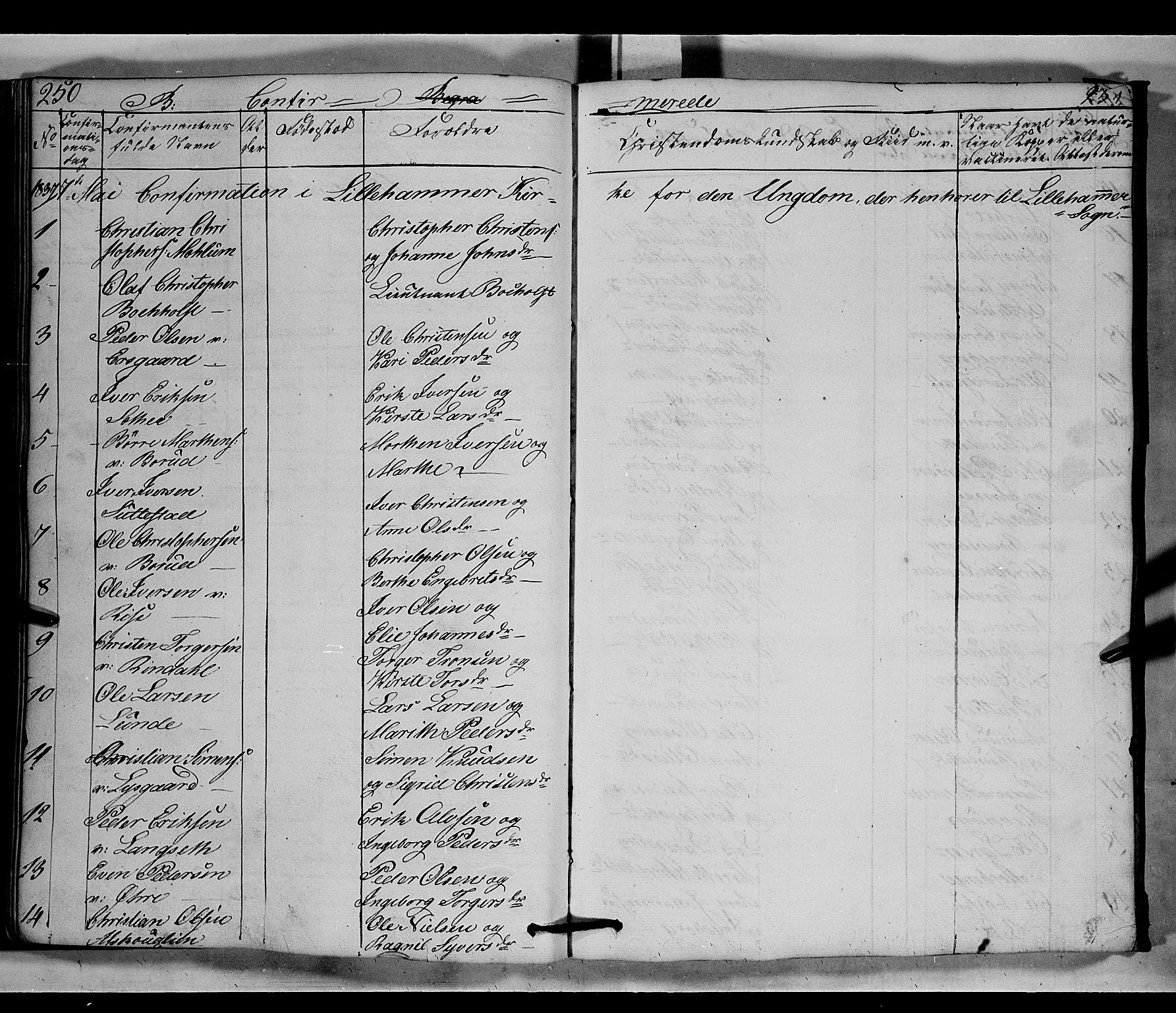 SAH, Fåberg prestekontor, H/Ha/Hab/L0006: Parish register (copy) no. 6, 1837-1855, p. 250-251