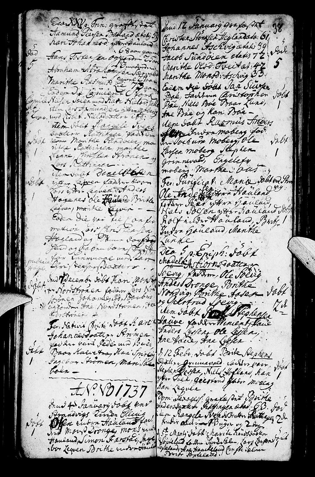 SAB, Os sokneprestembete*, Parish register (official) no. A 2, 1723-1758, p. 38