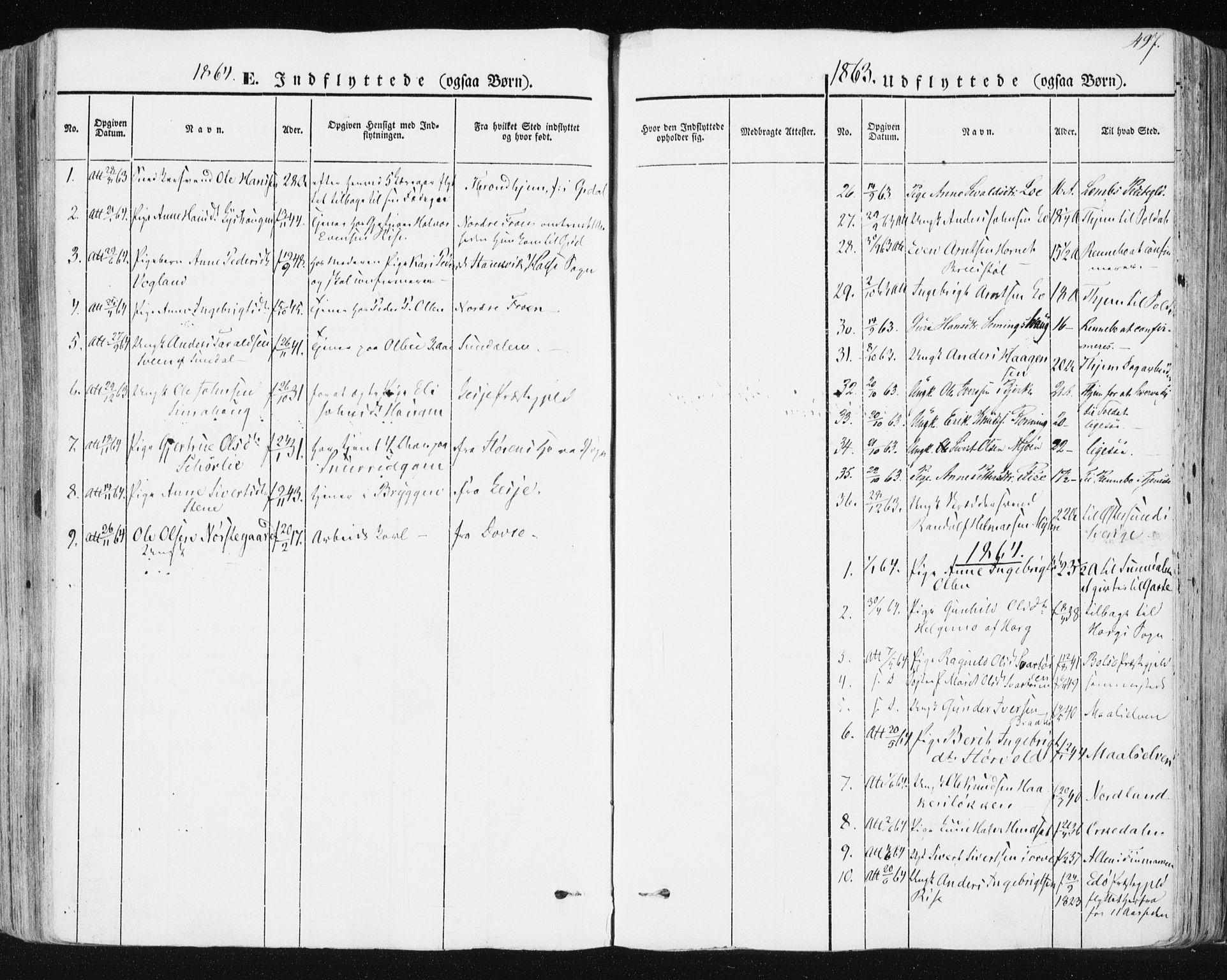 SAT, Ministerialprotokoller, klokkerbøker og fødselsregistre - Sør-Trøndelag, 678/L0899: Parish register (official) no. 678A08, 1848-1872, p. 497