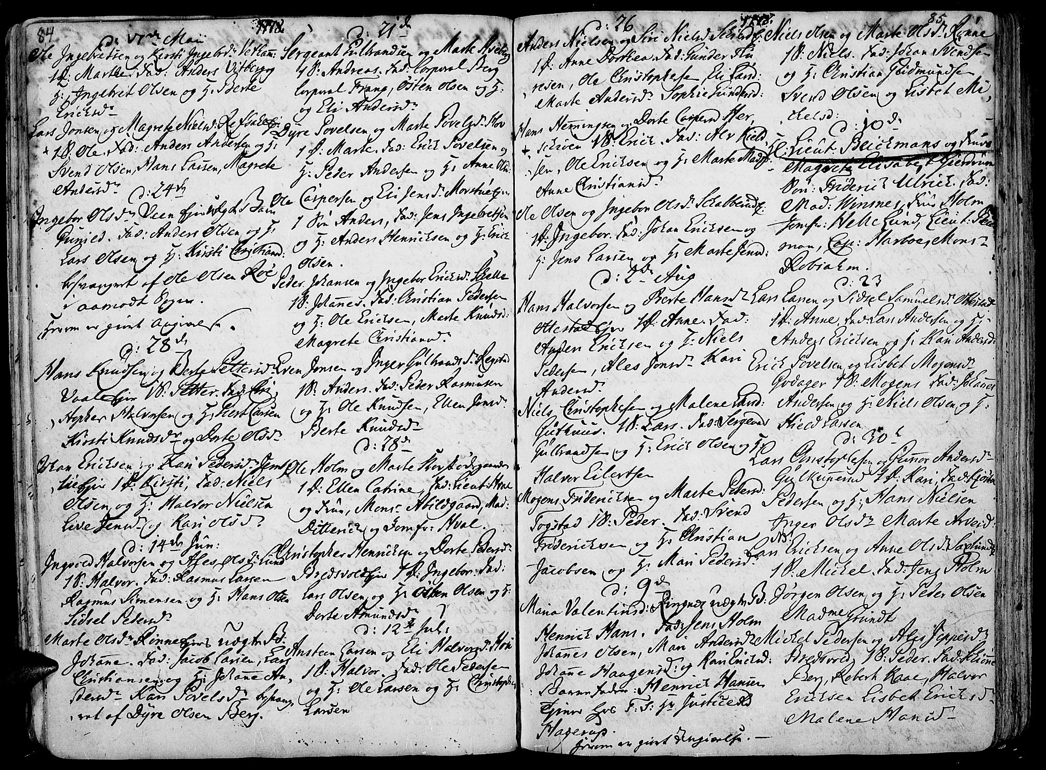 SAH, Stange prestekontor, K/L0006: Parish register (official) no. 6, 1762-1787, p. 84-85